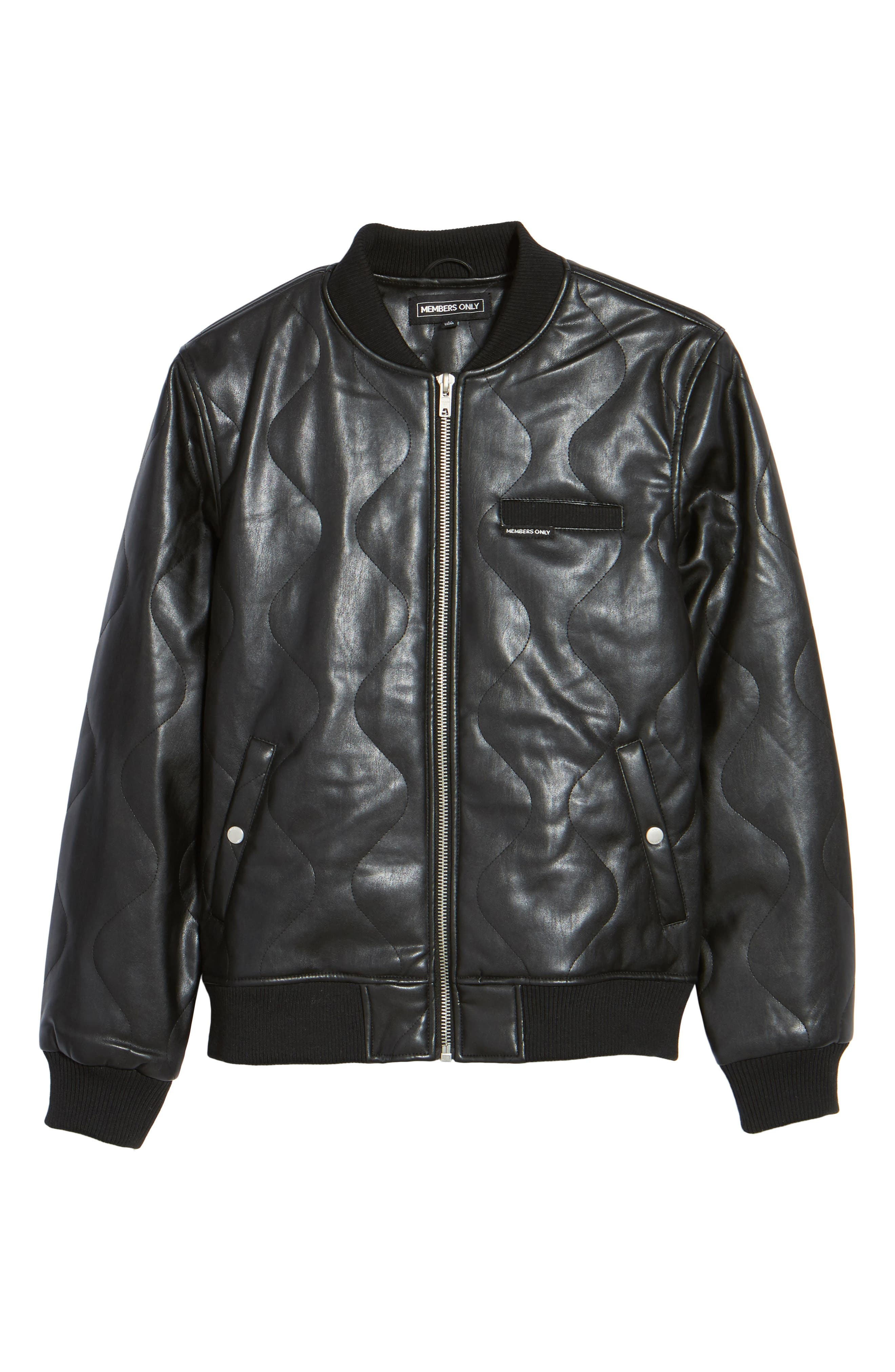 Quilted Faux Leather Bomber Jacket,                             Alternate thumbnail 5, color,                             001