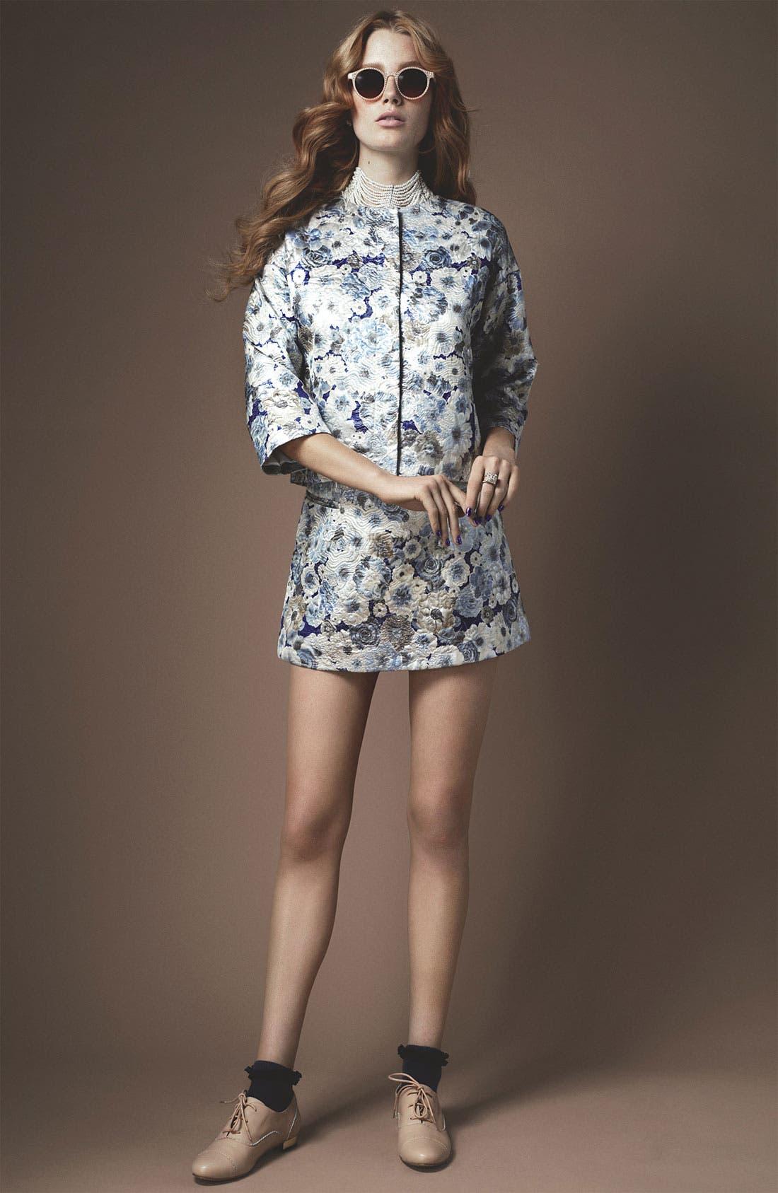 Floral Jacquard Skirt,                             Alternate thumbnail 3, color,                             450
