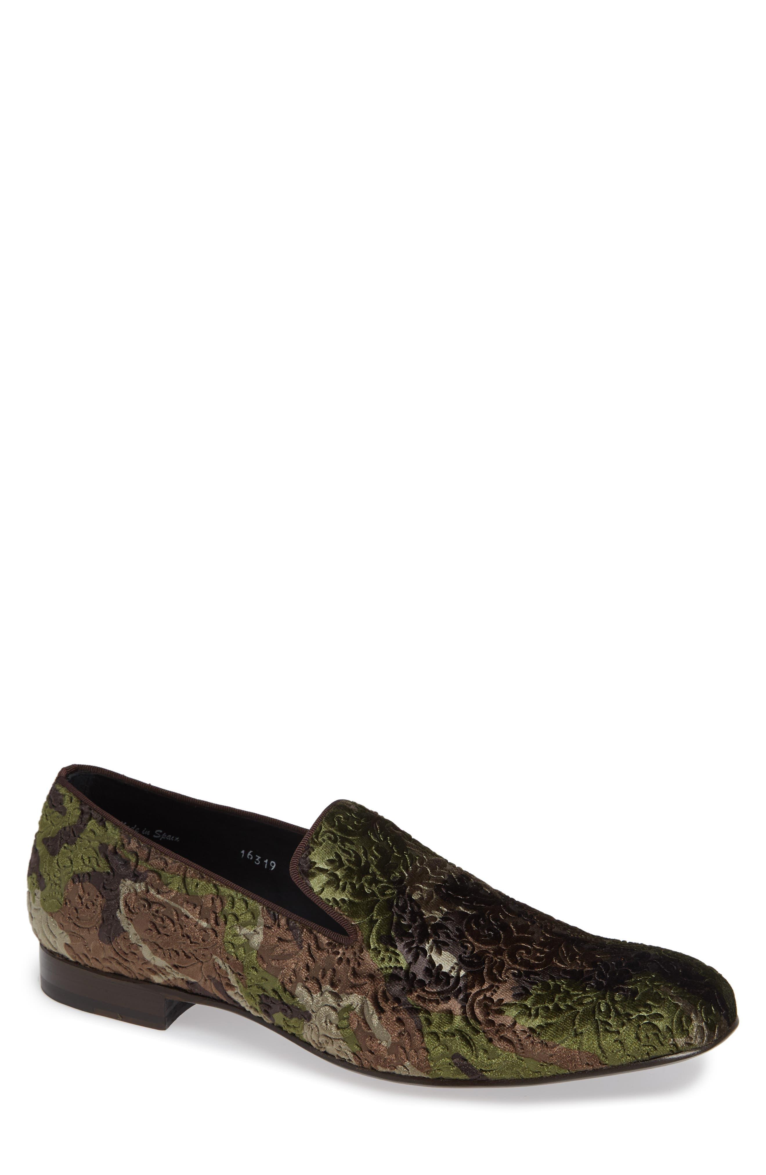 Caprio Venetian Loafer,                         Main,                         color, GREEN VELVET