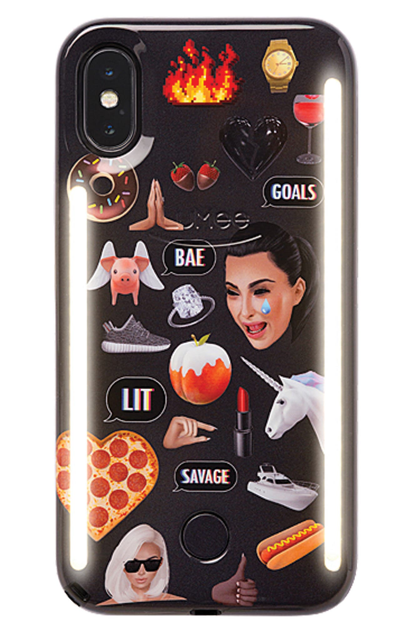 LUMEE Kimoji Collage Lighted iPhone Case, Main, color, BLACK