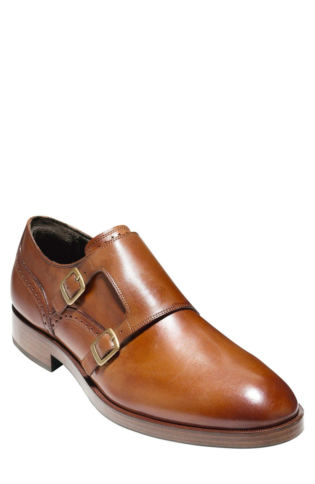 'Harrison' Double Monk Strap Shoe,                             Main thumbnail 1, color,                             BRITISH TAN LEATHER
