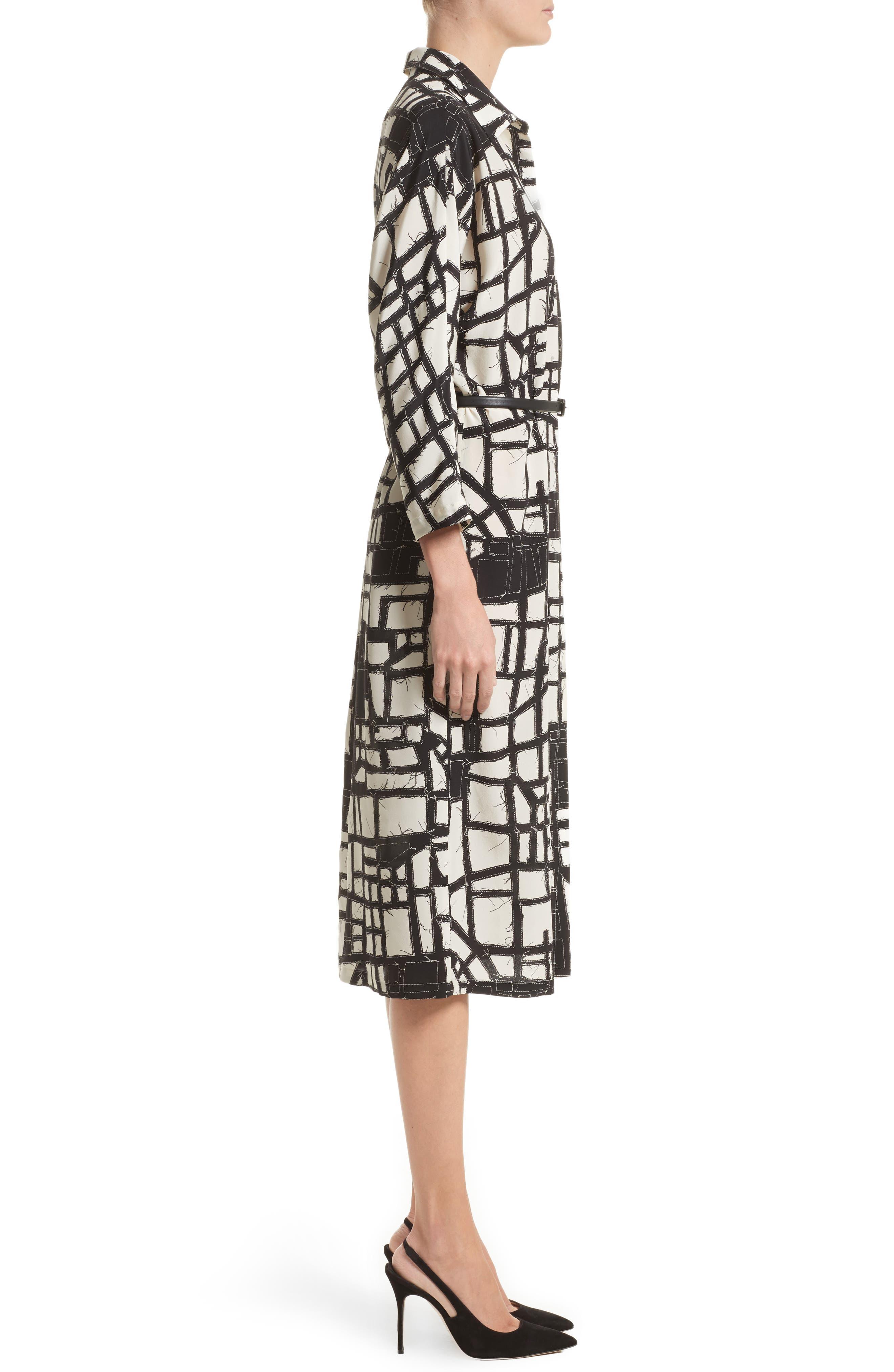 Aligi Print Silk Dress,                             Alternate thumbnail 3, color,