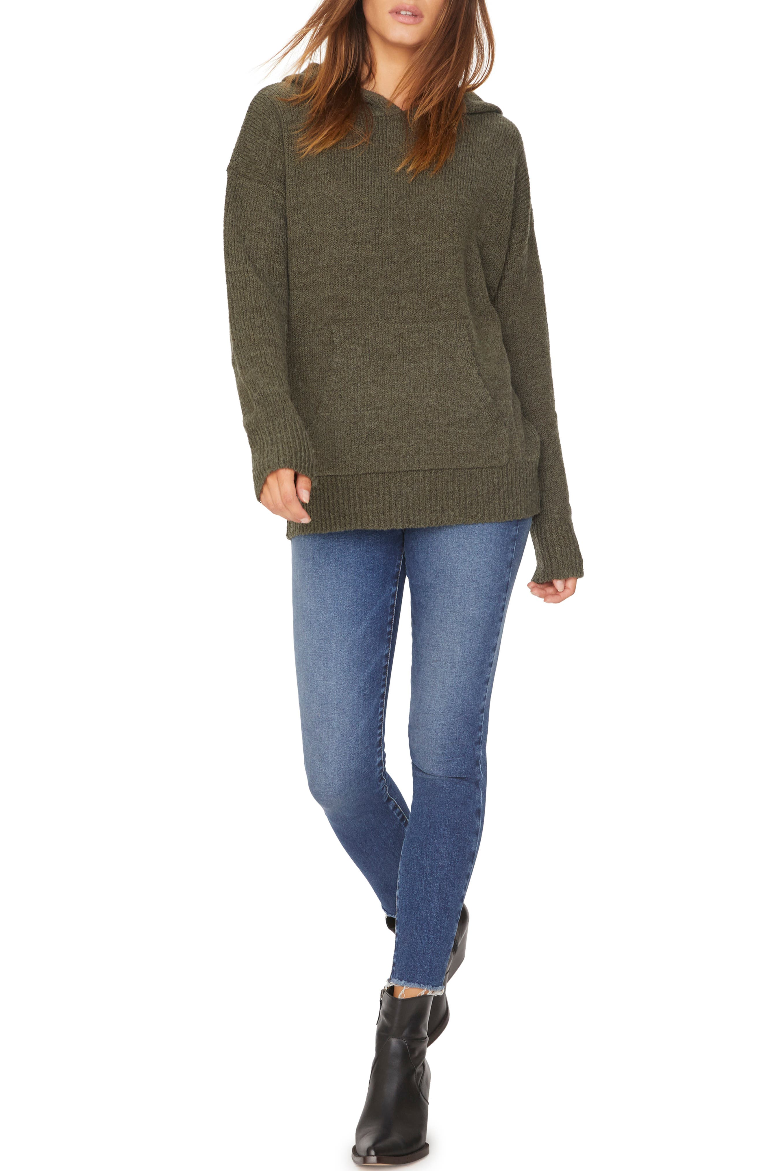 Sunday Morning Wool Blend Sweater Hoodie,                             Alternate thumbnail 4, color,                             HEATHER PROSPERITY GREEN