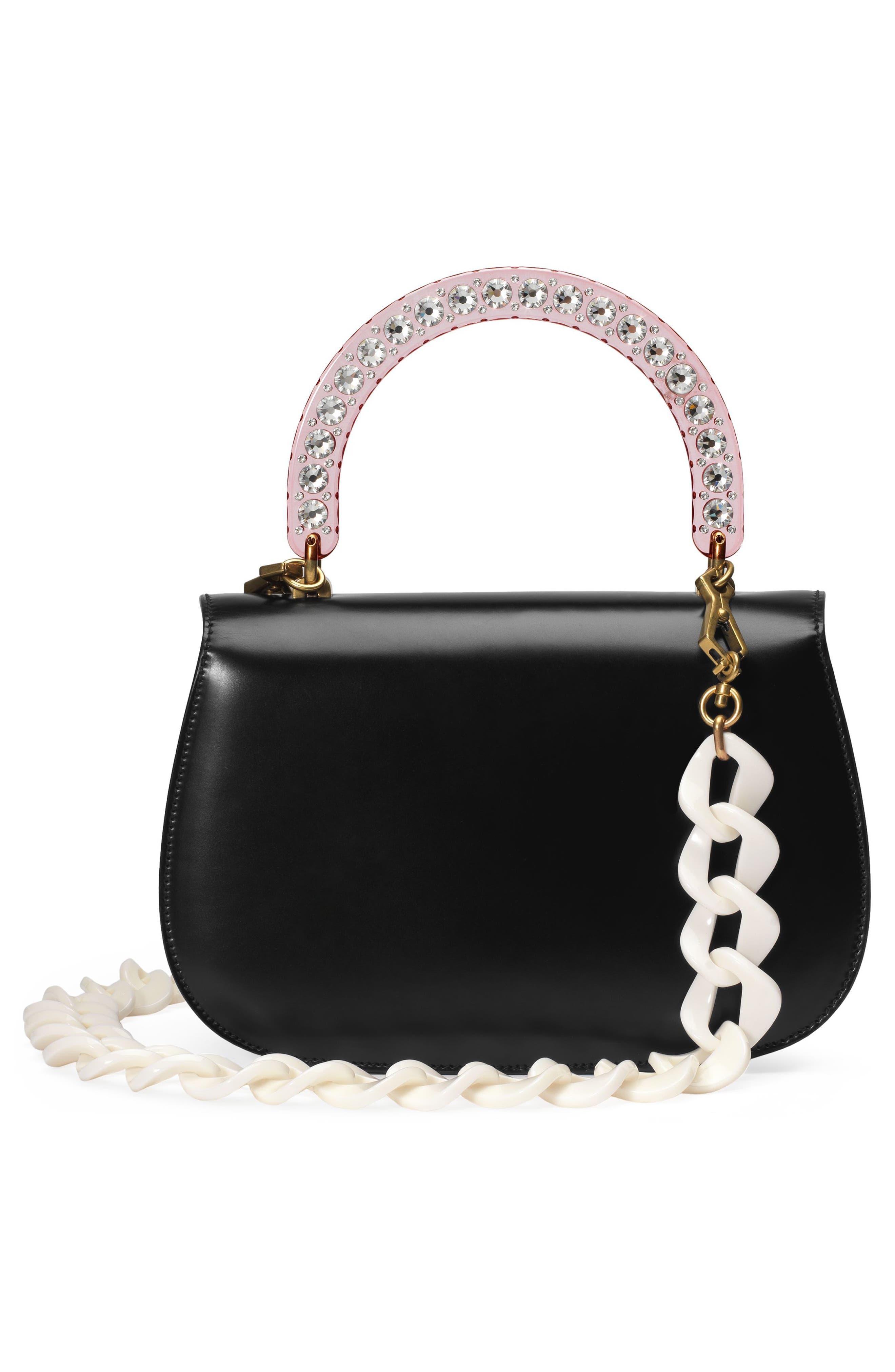 Medium Classic 2 Top Handle Shoulder Bag,                             Alternate thumbnail 2, color,                             NERO/ ROSE CRYSTAL
