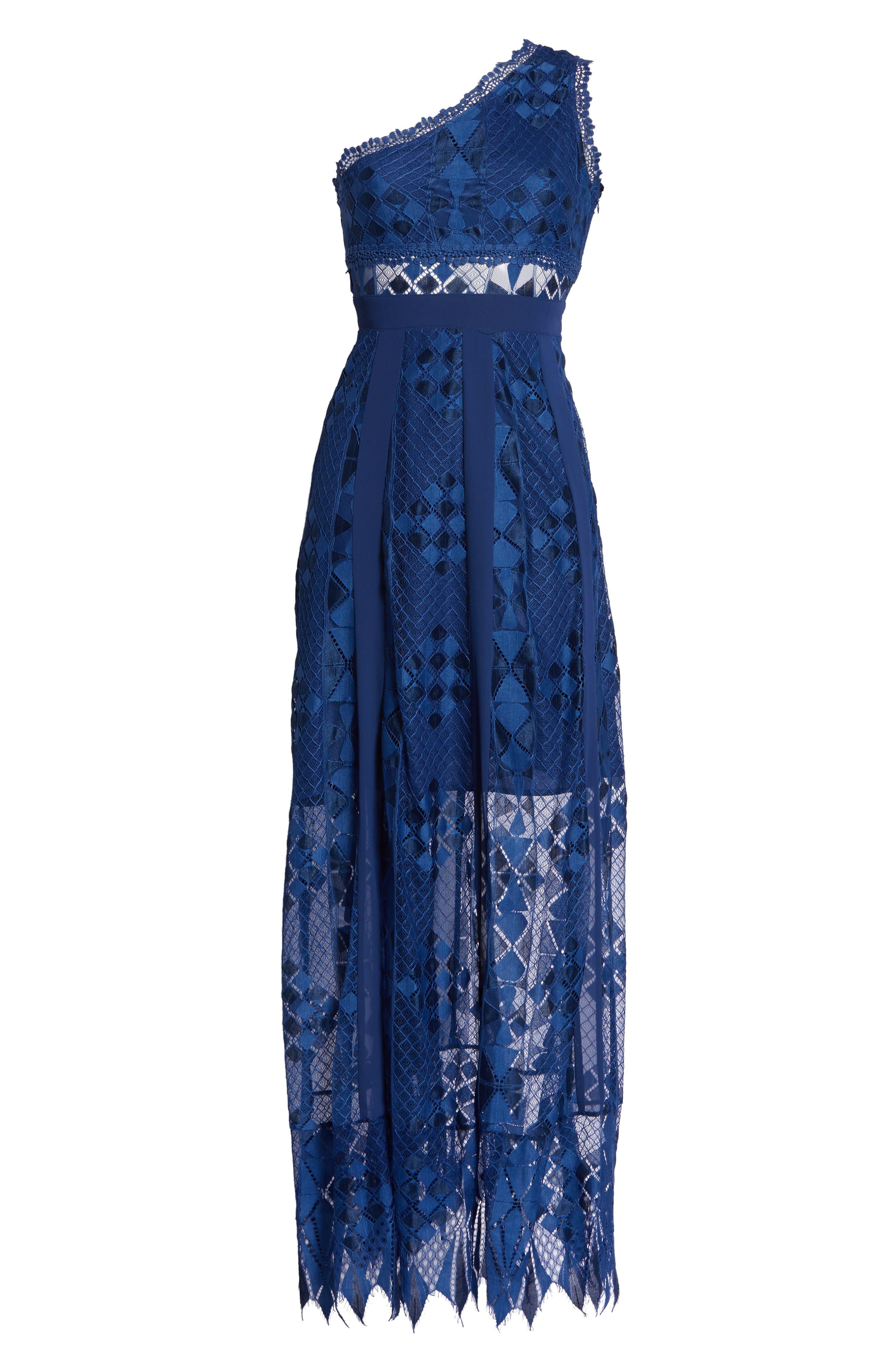 Juliet One-Shoulder Lace Gown,                             Alternate thumbnail 7, color,                             NAVY