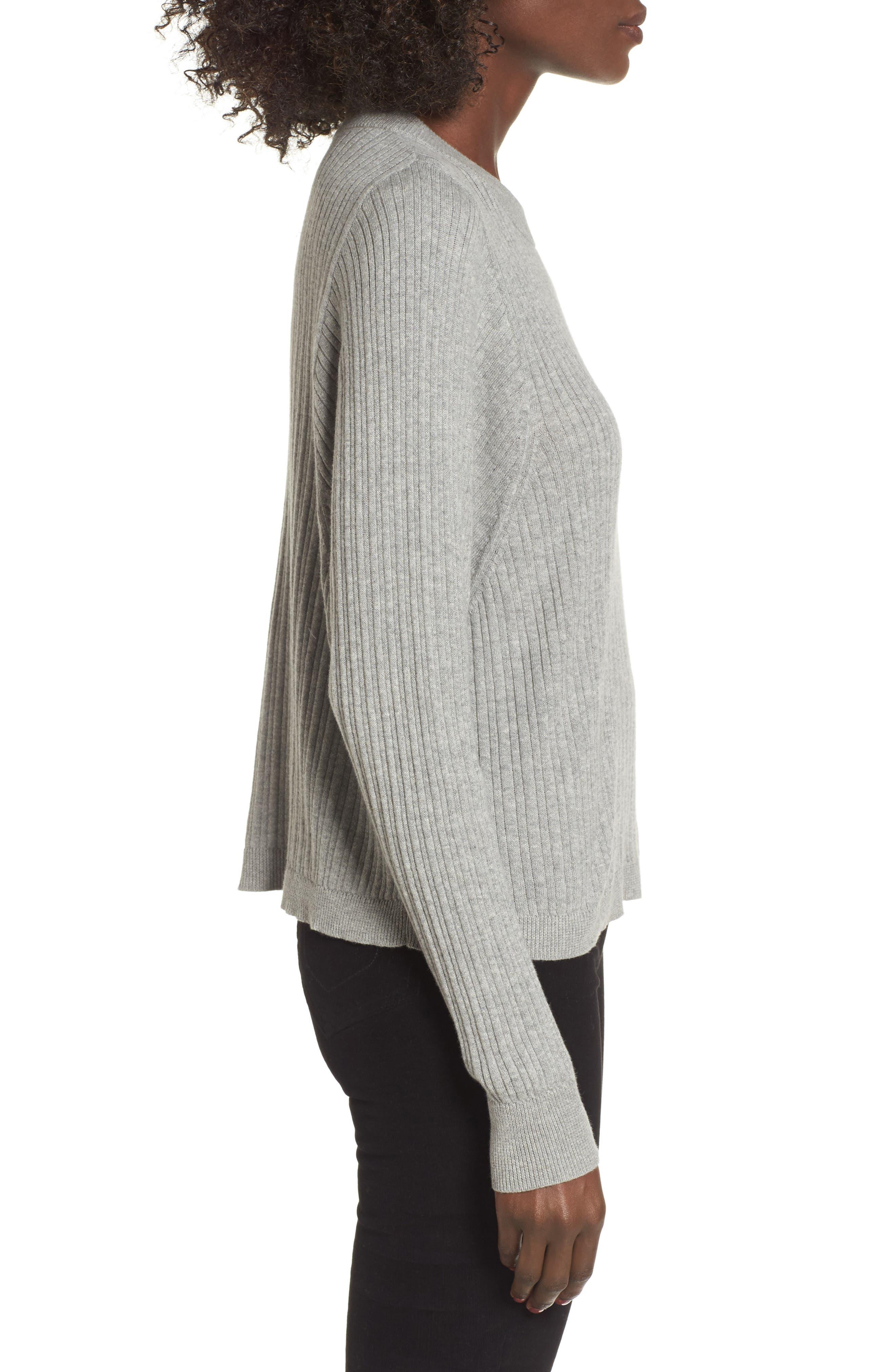 Crewneck Variegated Rib-Knit Sweater,                             Alternate thumbnail 8, color,