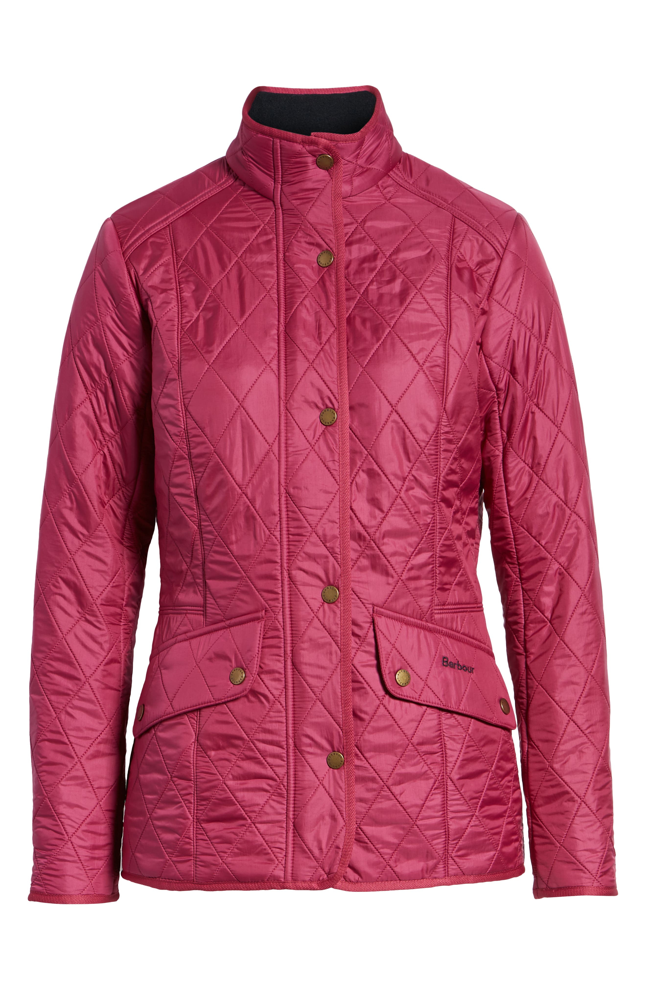 'Cavalry' Quilted Jacket,                             Alternate thumbnail 5, color,                             BERRY PINK / NAVY