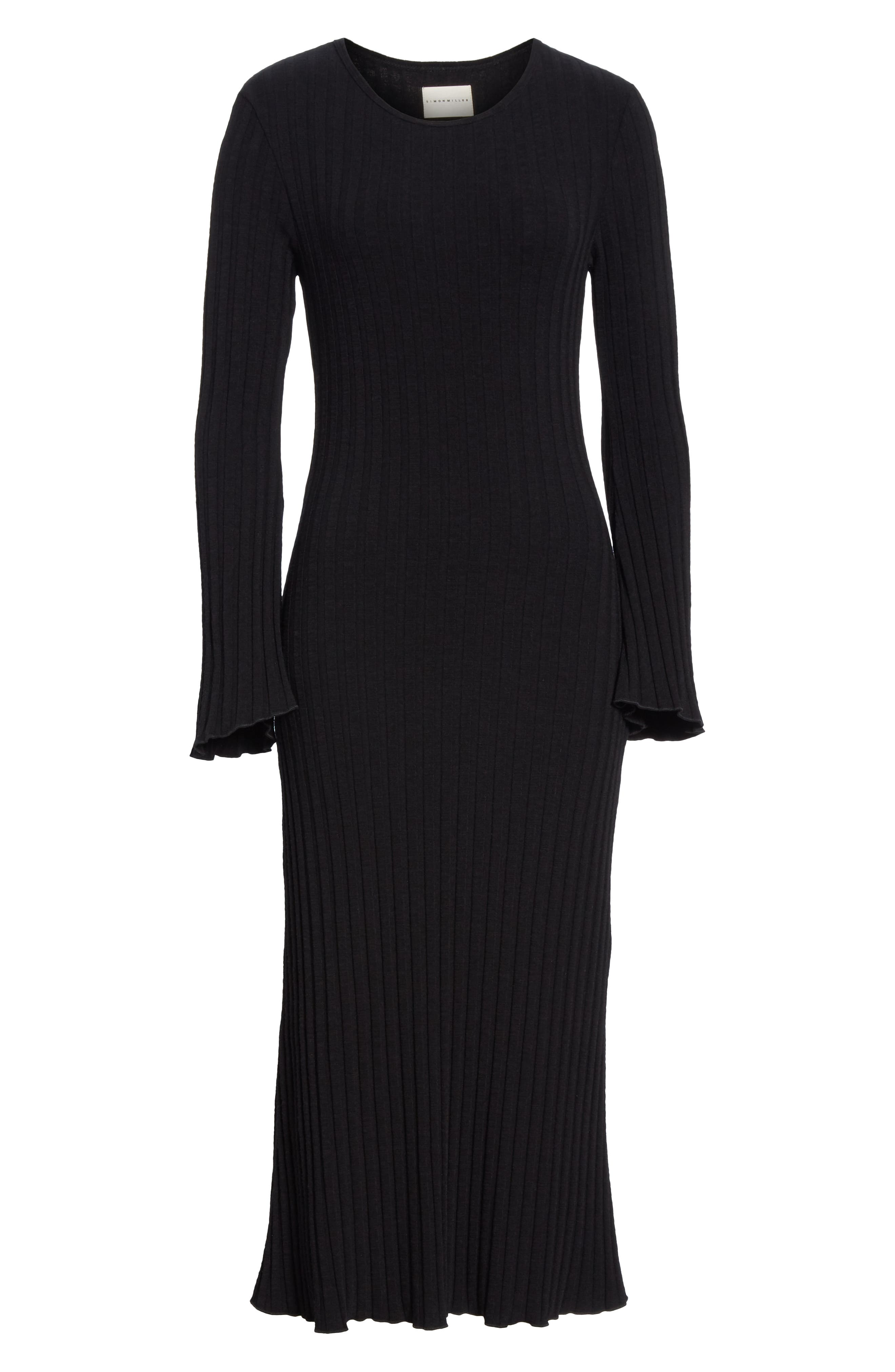 Rib Dress,                             Alternate thumbnail 7, color,                             BLACK