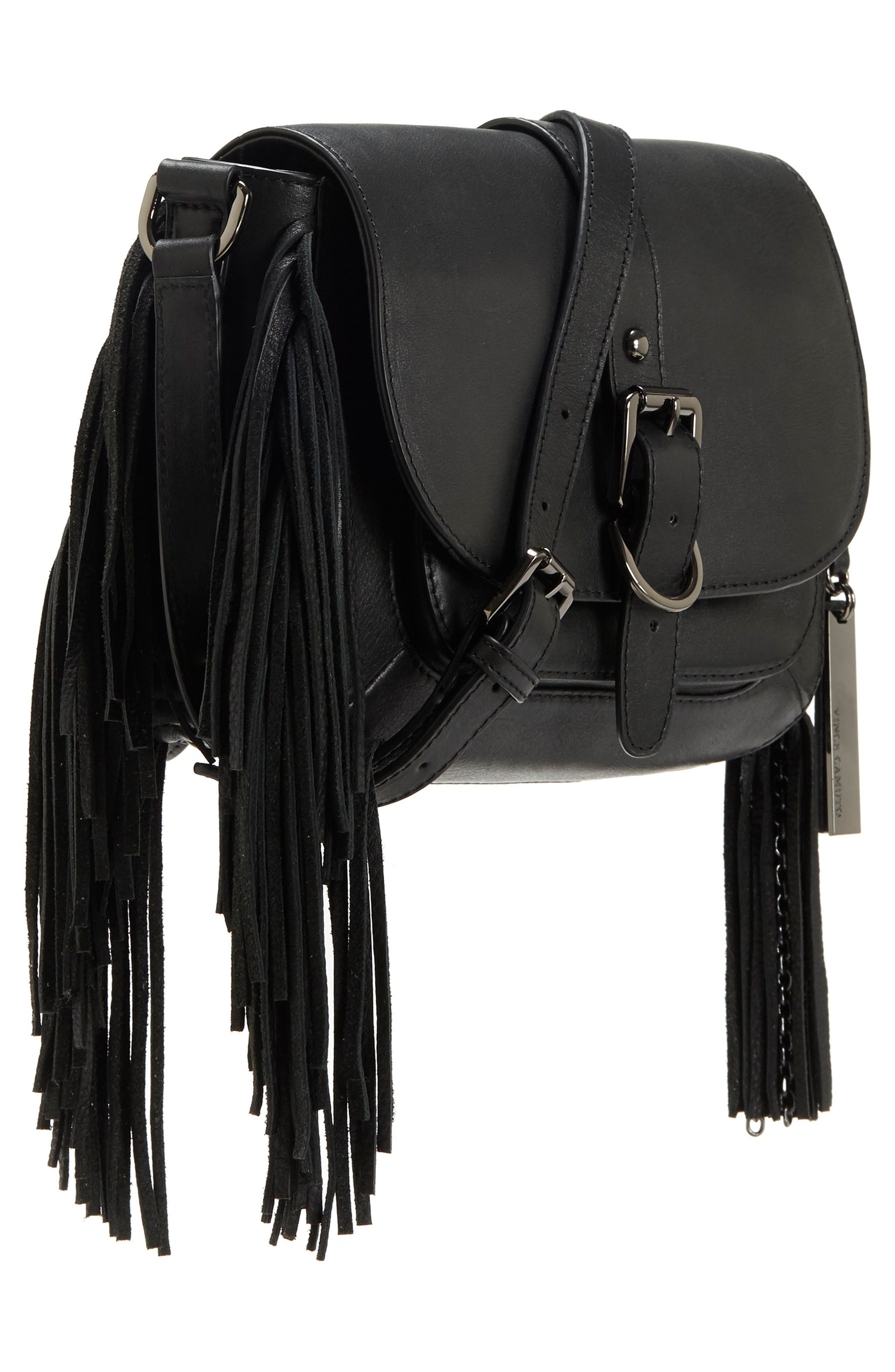 Hil Leather Crossbody Bag,                             Alternate thumbnail 5, color,                             002