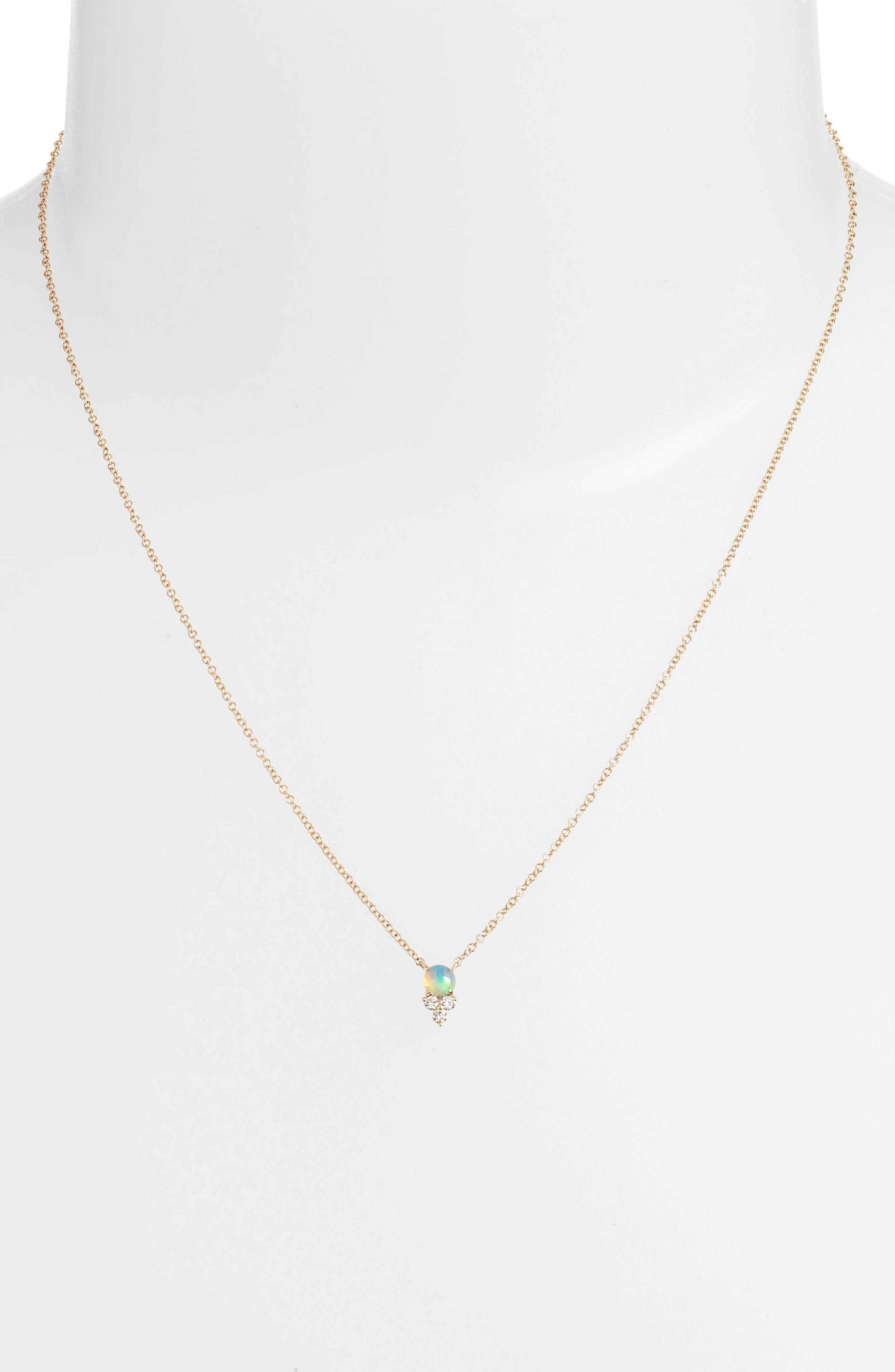 Diamond Trio Stone Pendant Necklace,                             Alternate thumbnail 2, color,                             YELLOW GOLD/ OPAL