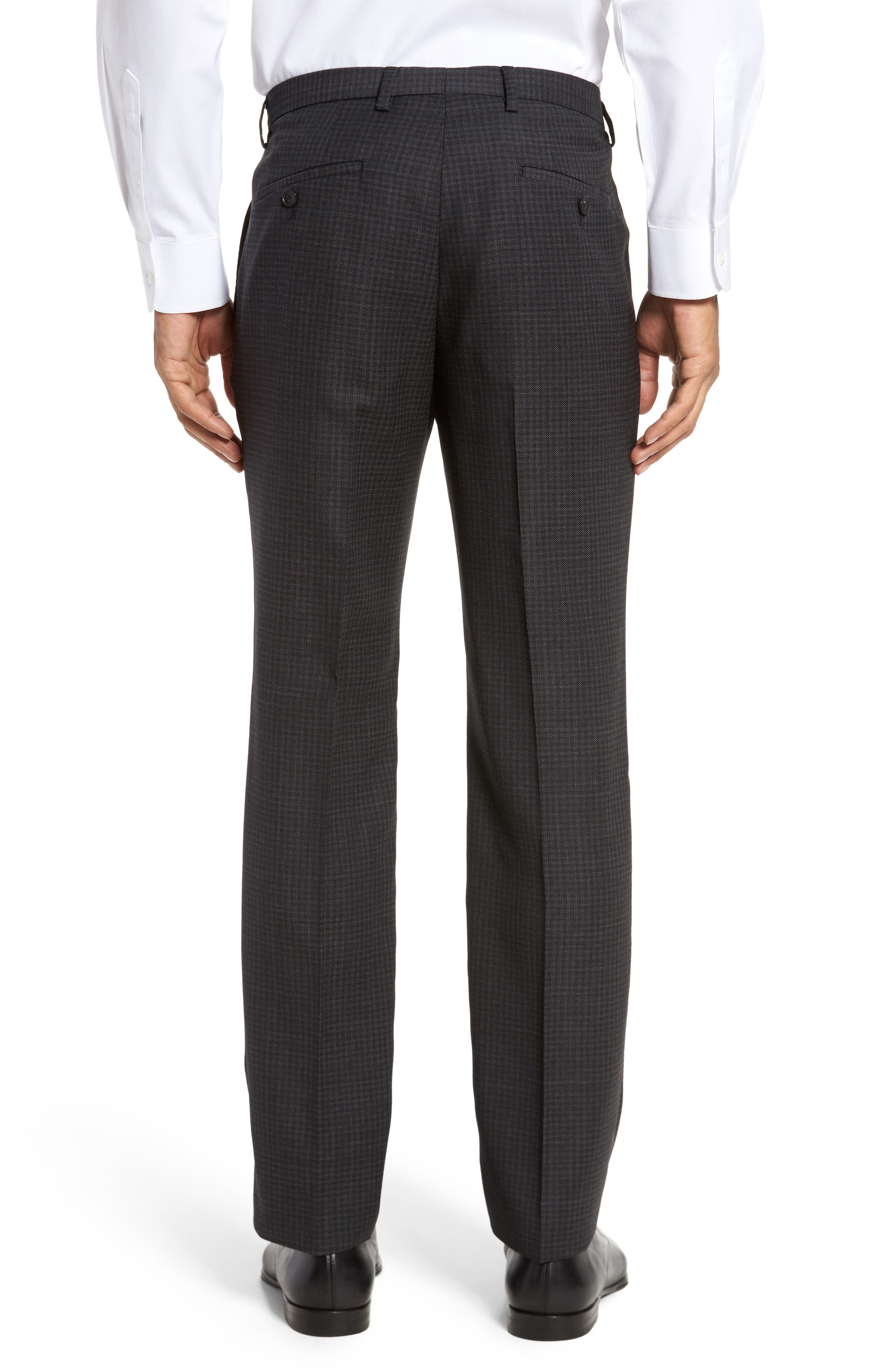 Leenon Flat Front Regular Fit Check Wool Trousers,                             Alternate thumbnail 3, color,                             001