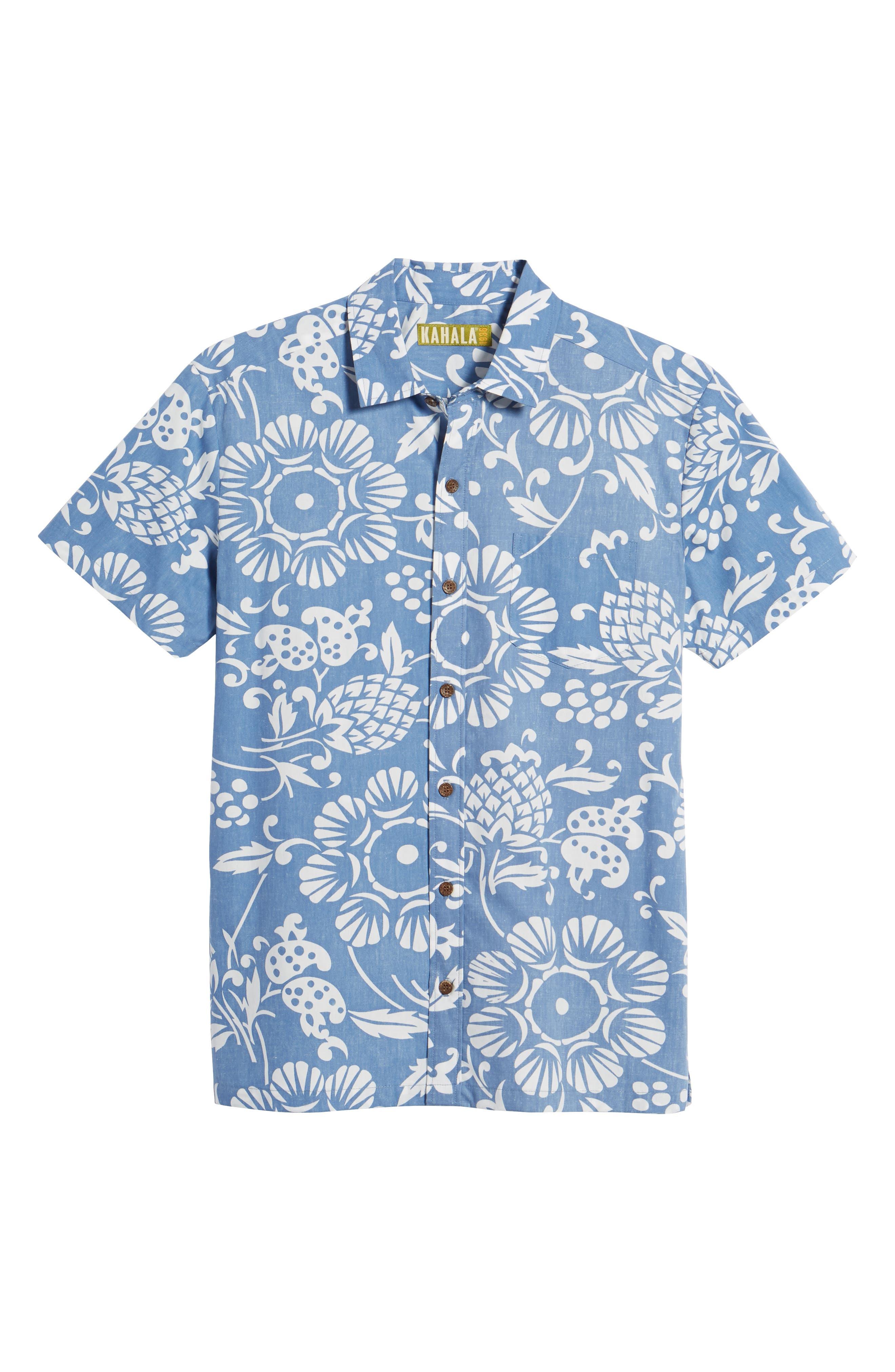 Duke's Pareo Trim Fit Sport Shirt,                             Alternate thumbnail 6, color,                             WAVE