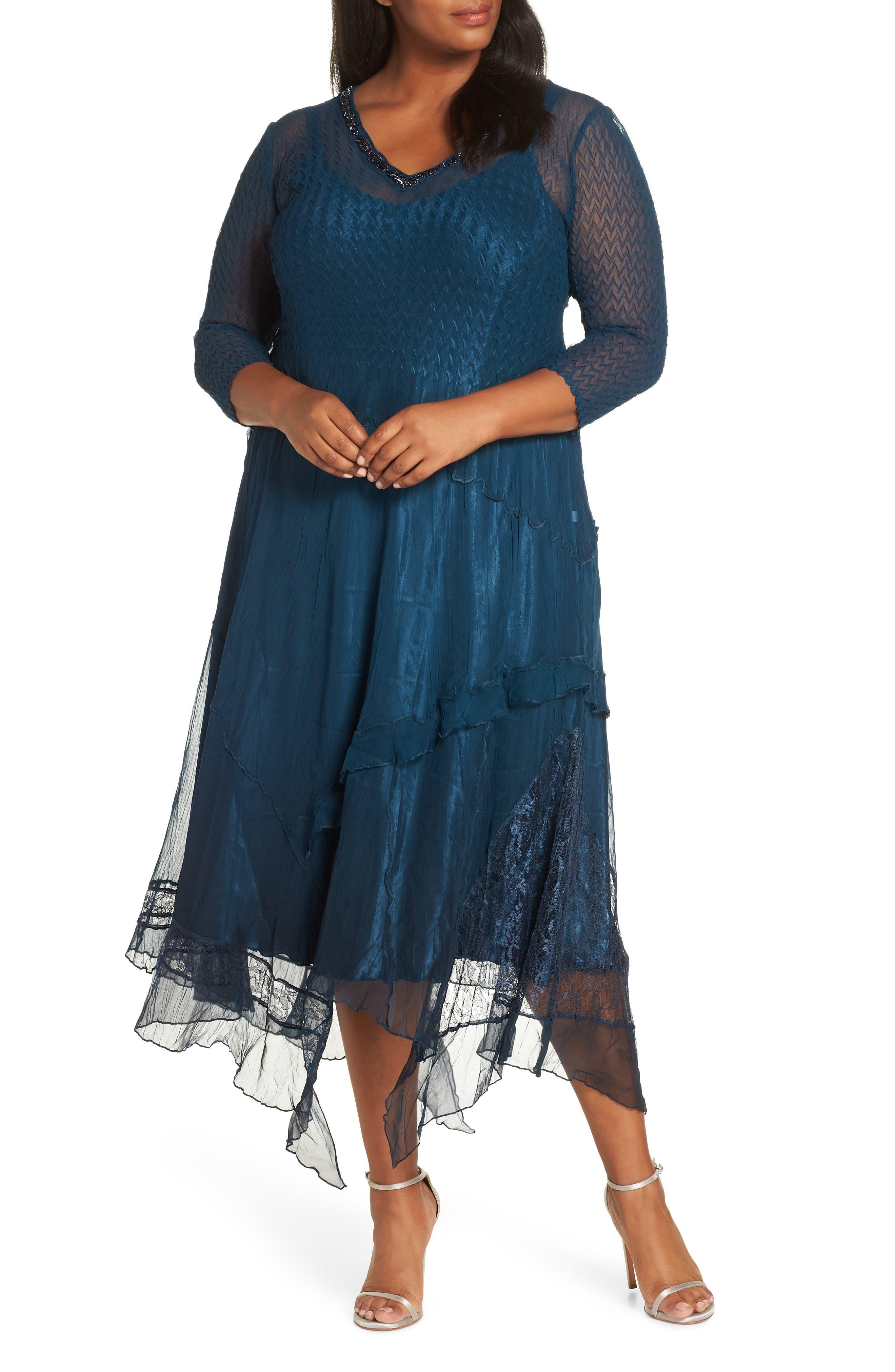 Plus Size Komarov Beaded Handkerchief Hem Dress, Blue