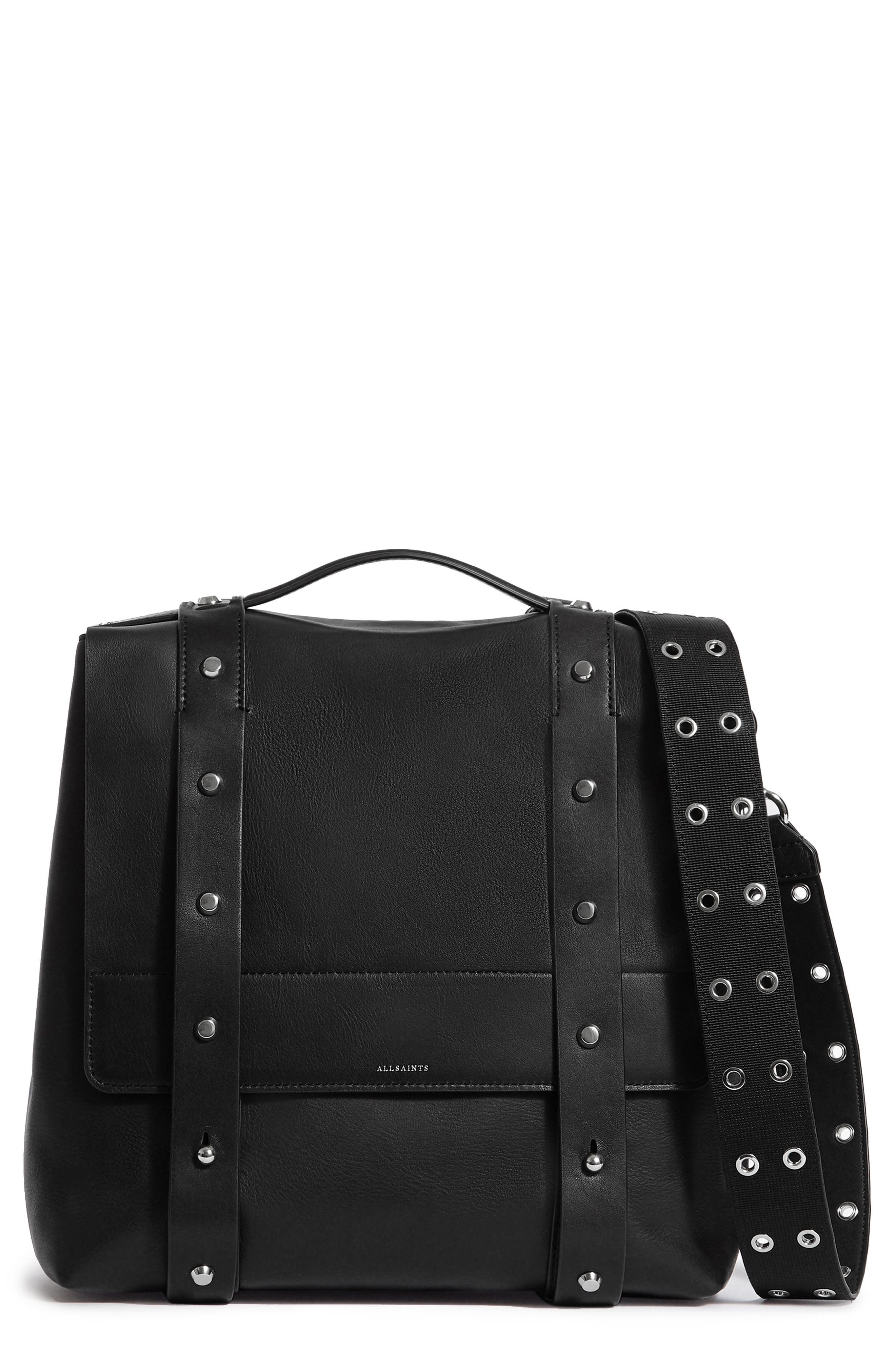 Sid Leather Convertible Backpack,                         Main,                         color, BLACK