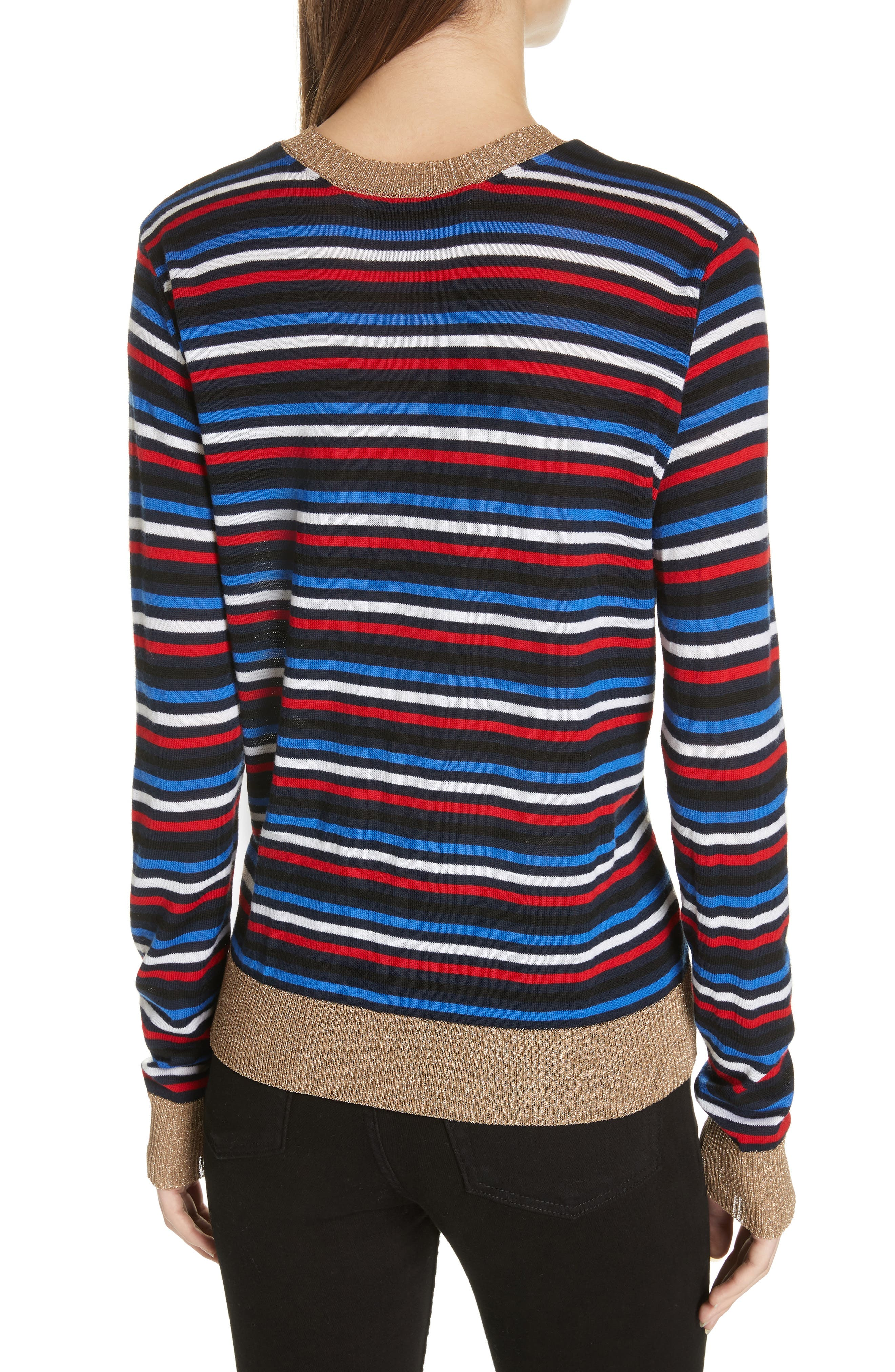 Stripe Knit Boyfriend Sweater,                             Alternate thumbnail 2, color,                             NAVY MULTI STRIPE