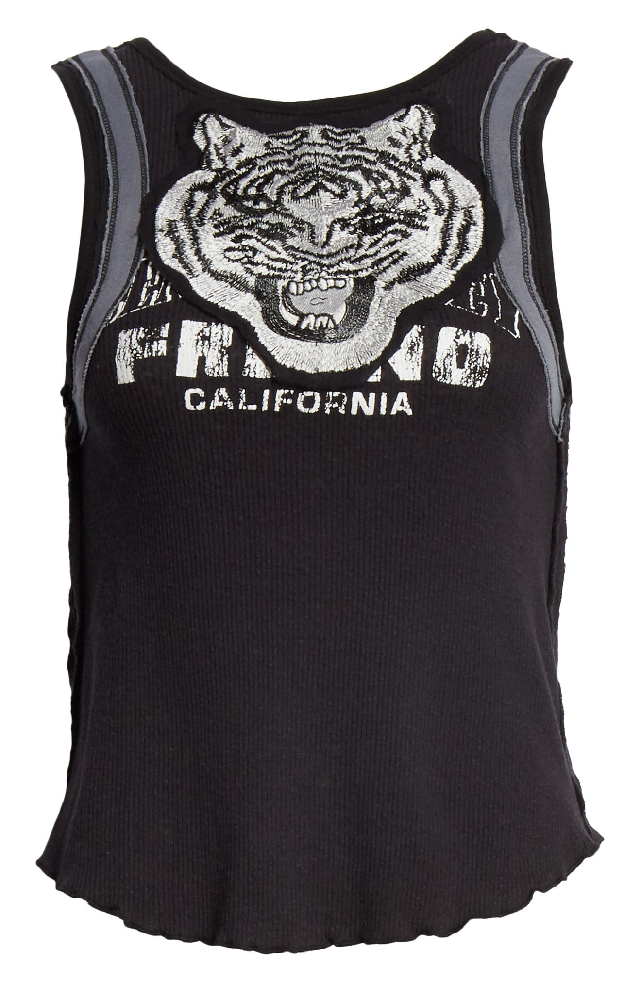 FREE PEOPLE,                             We the Free by Free People Mini Moto Graphic Tank,                             Alternate thumbnail 6, color,                             001