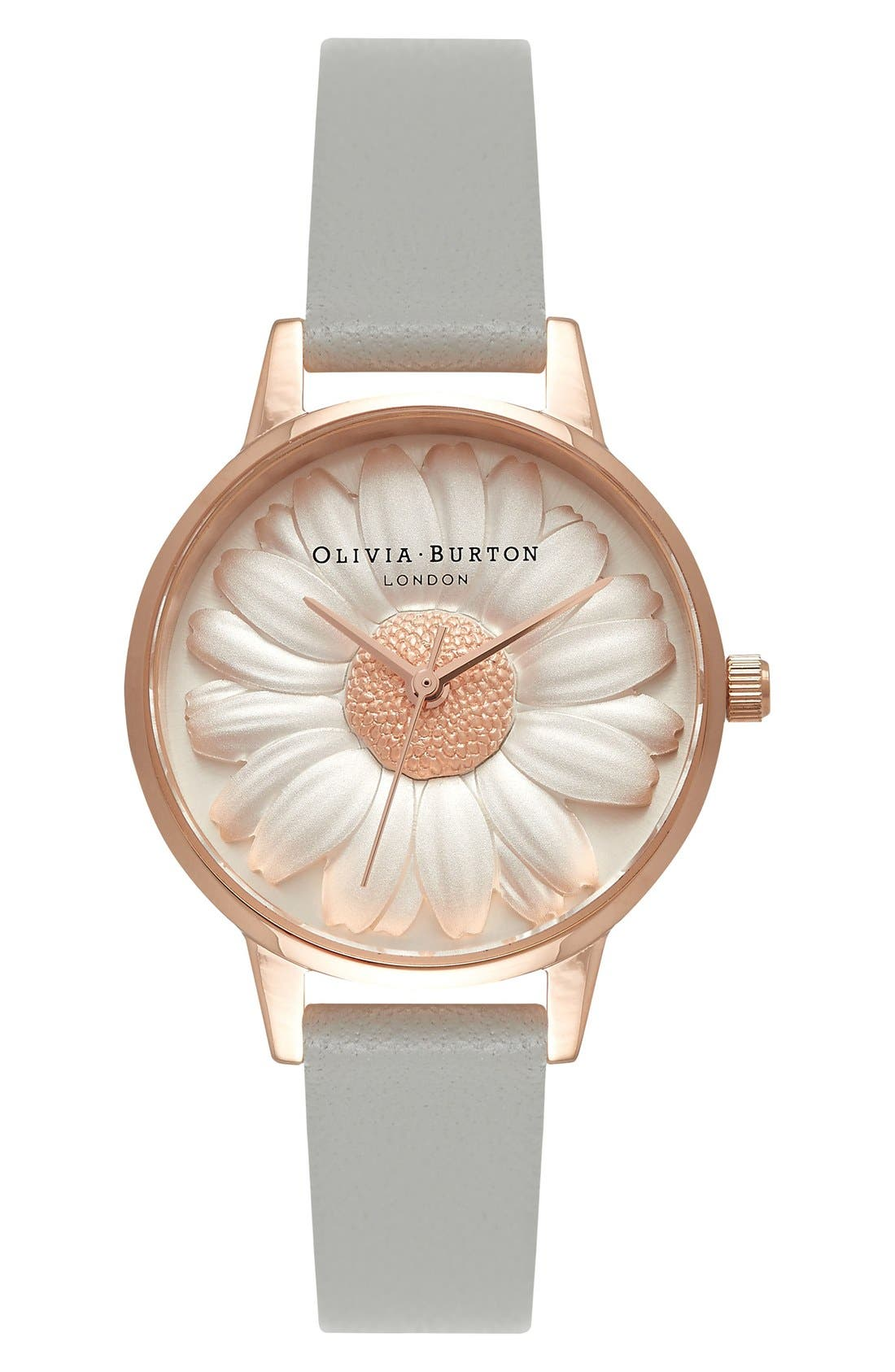 3D Daisy Leather Strap Watch, 30mm,                         Main,                         color, GREY/ WHITE/ PINK