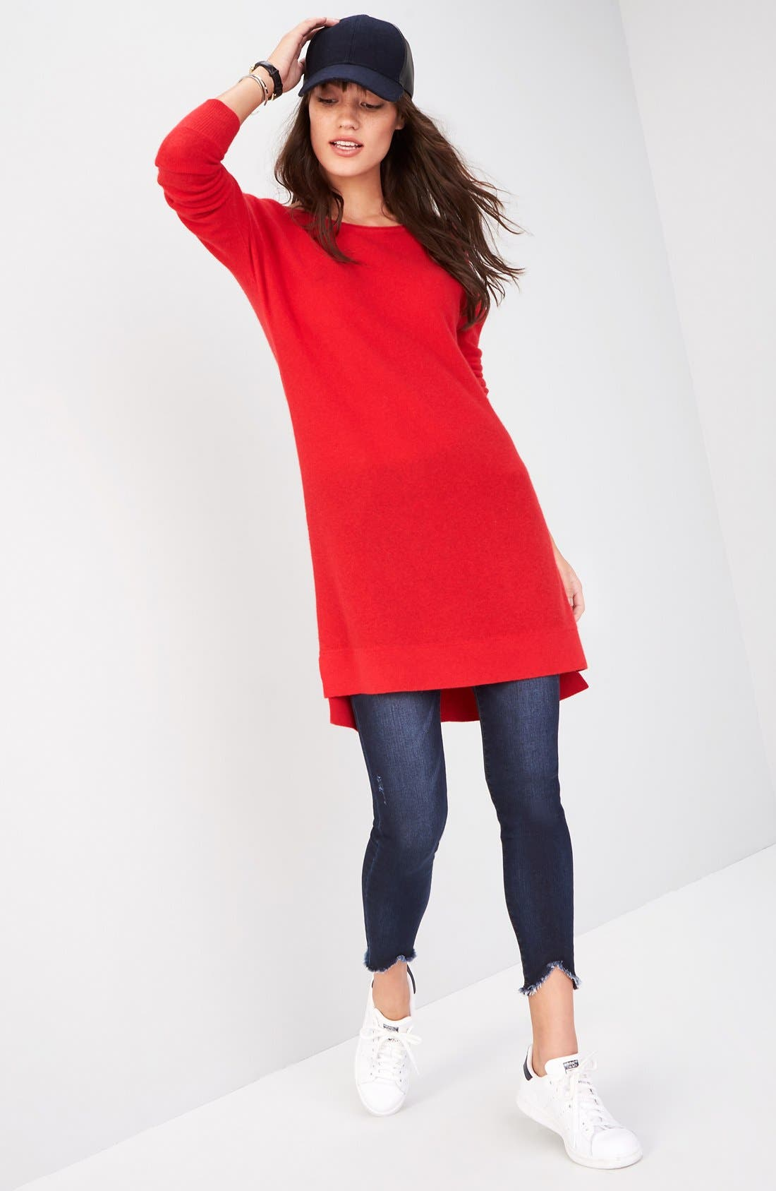 High/Low Wool & Cashmere Tunic Sweater,                             Alternate thumbnail 32, color,