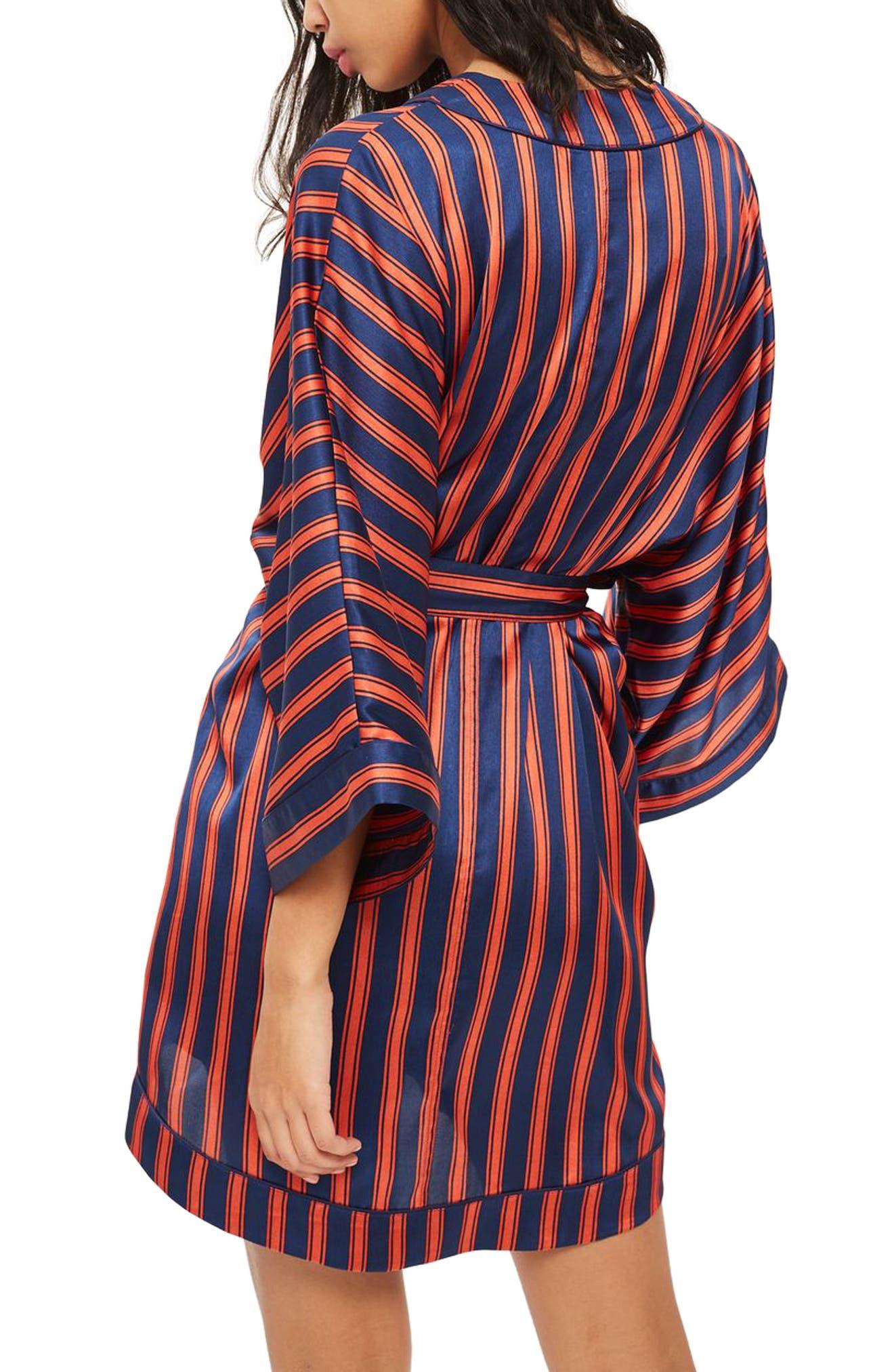 Stripe Satin Short Robe,                             Alternate thumbnail 2, color,                             NAVY MULTI