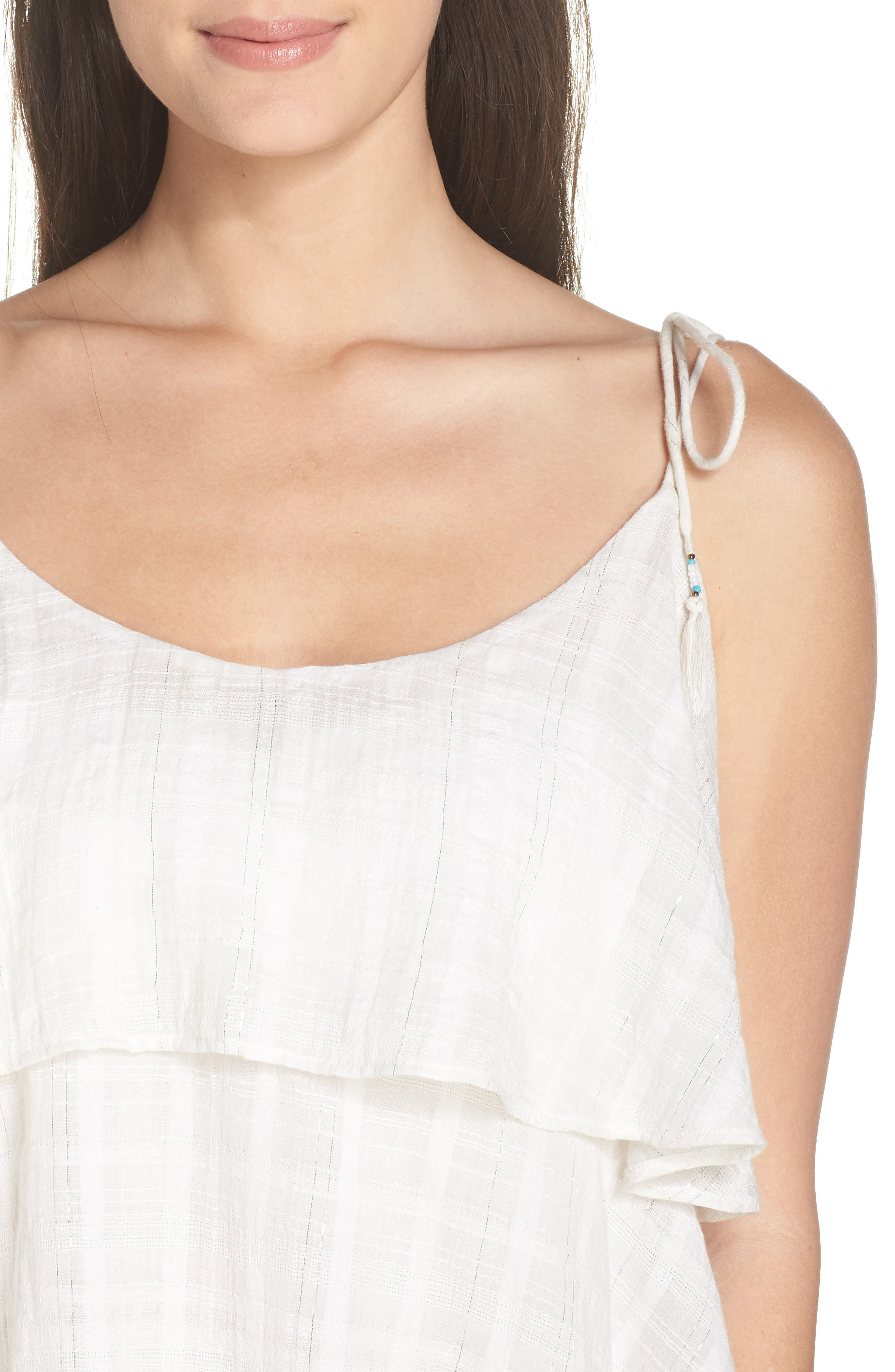 Mariah Ruffled Cover-Up Dress,                             Alternate thumbnail 4, color,                             WHITE-SILVER