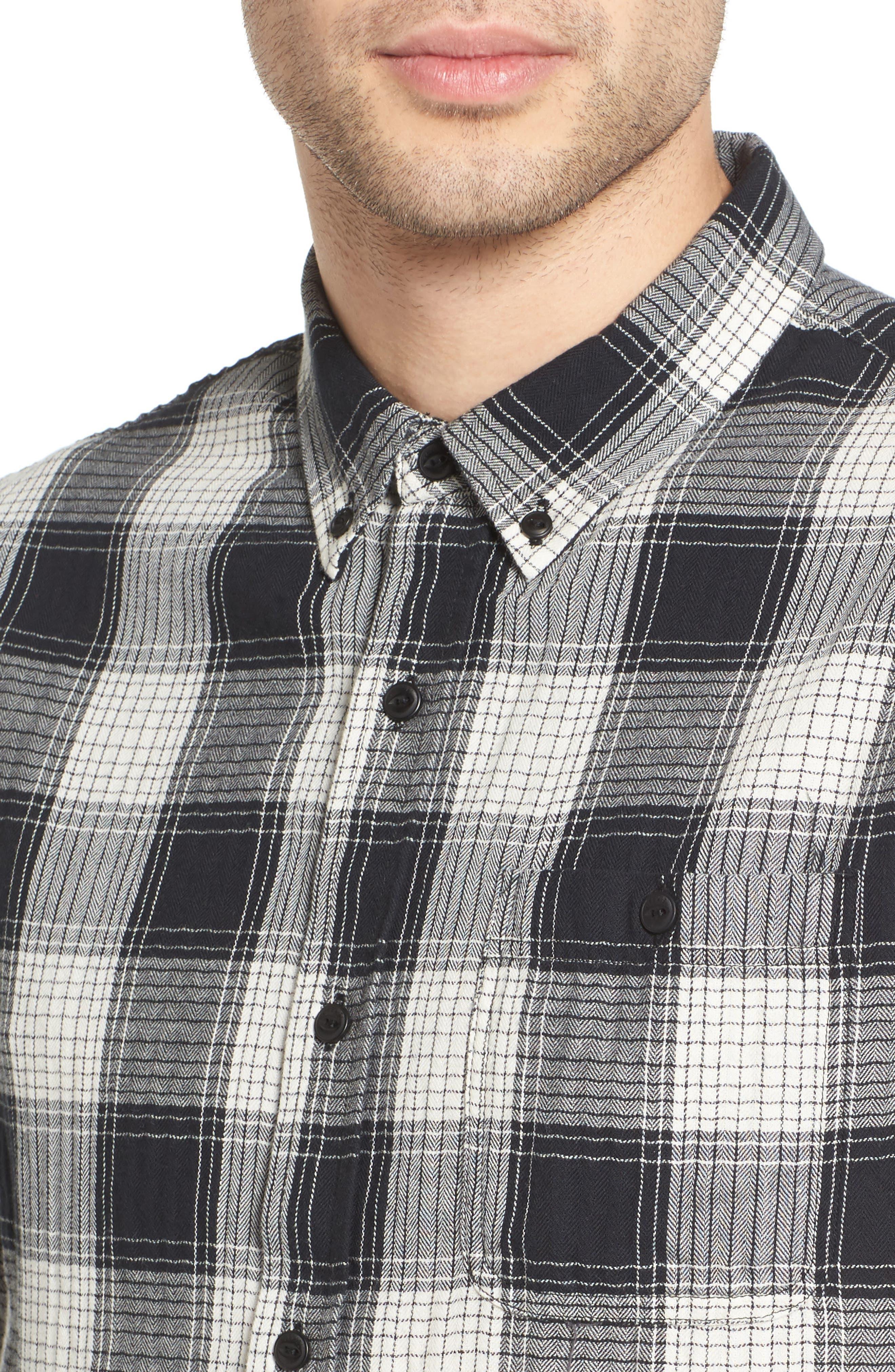 Herringbone Woven Plaid Shirt,                             Alternate thumbnail 4, color,                             100