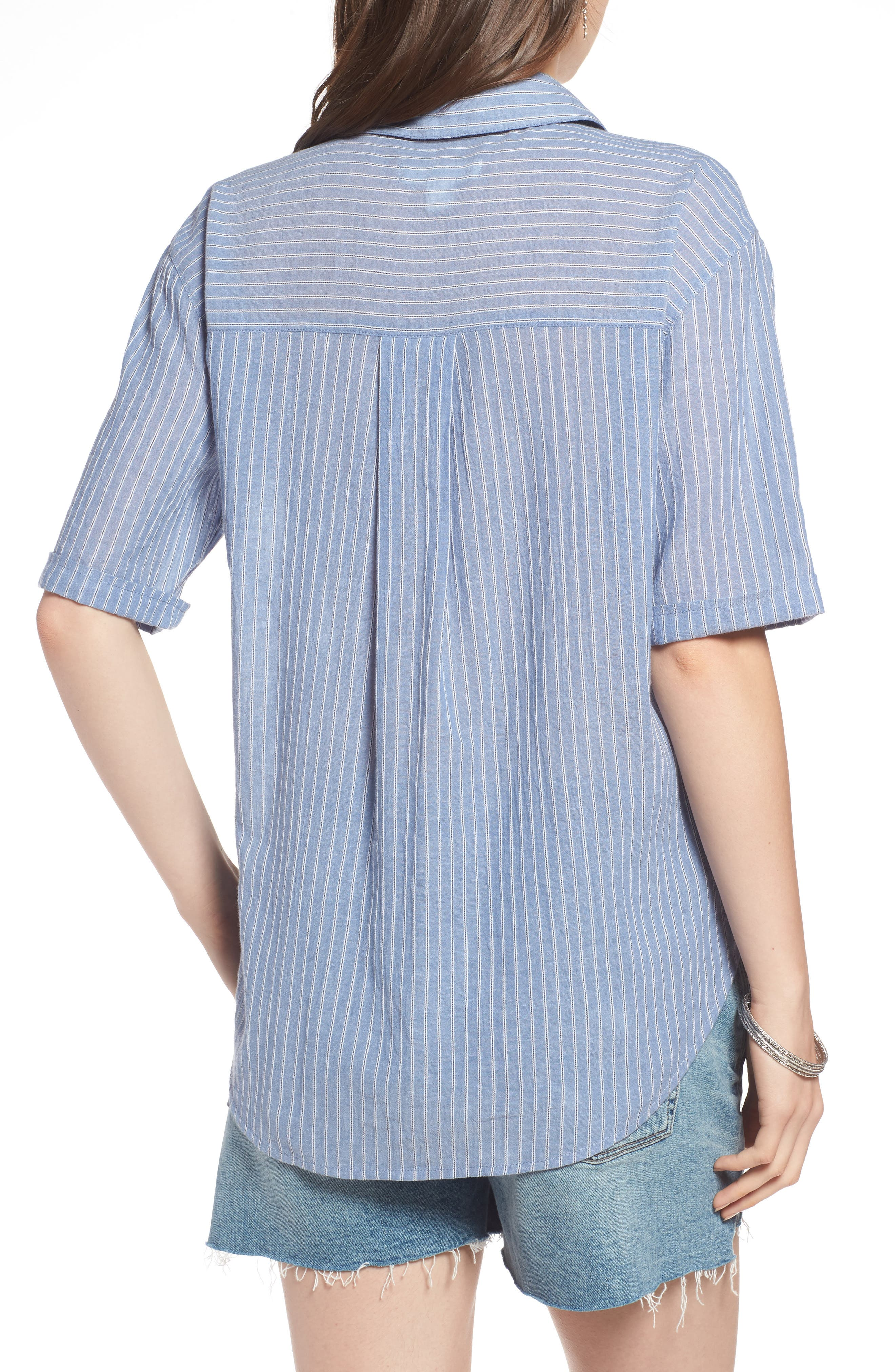 Stripe Button Front Shirt,                             Alternate thumbnail 2, color,                             BLUE AIRY STRIPE