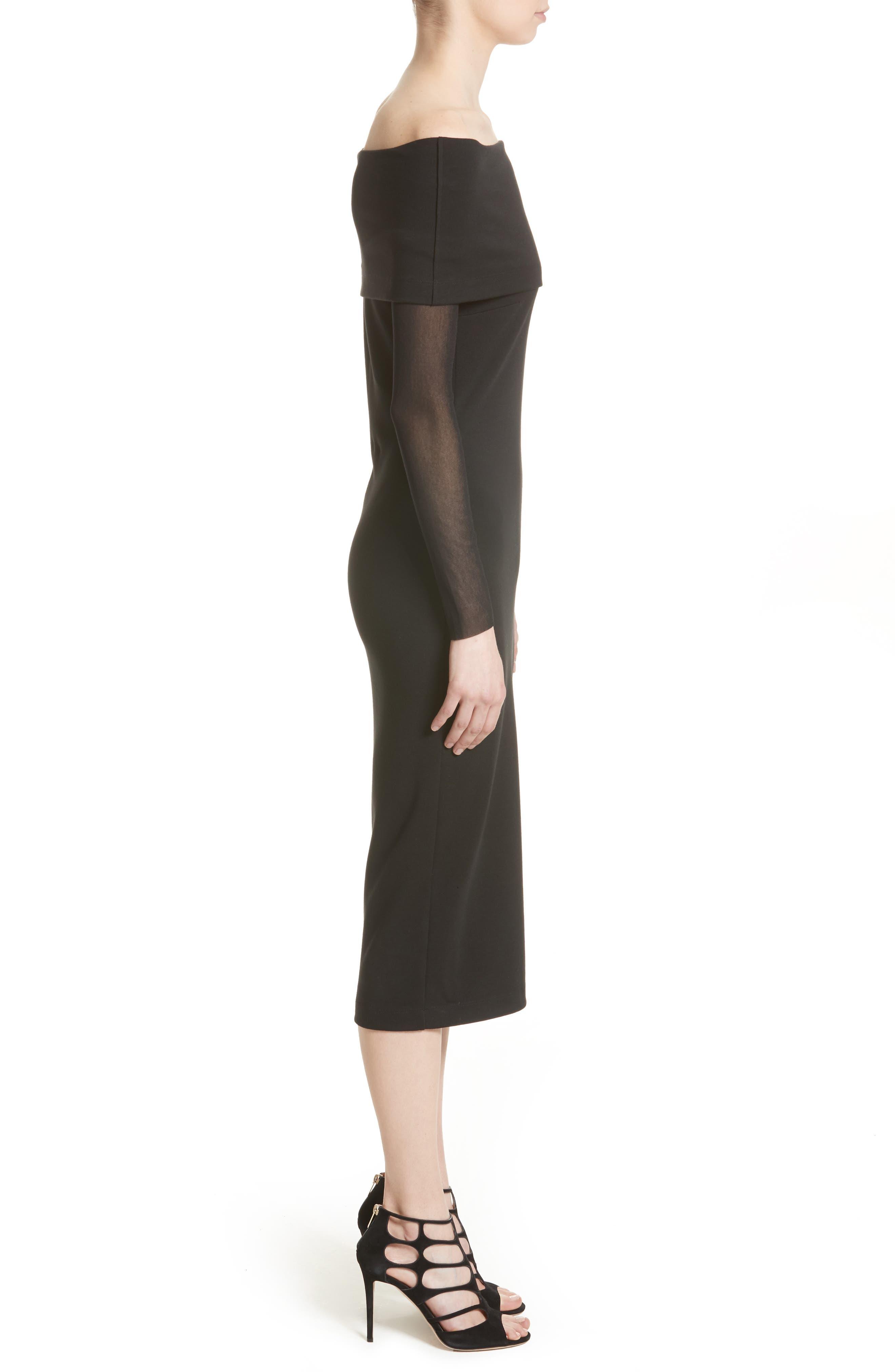 Tulle Off the Shoulder Midi Dress,                             Alternate thumbnail 3, color,                             001