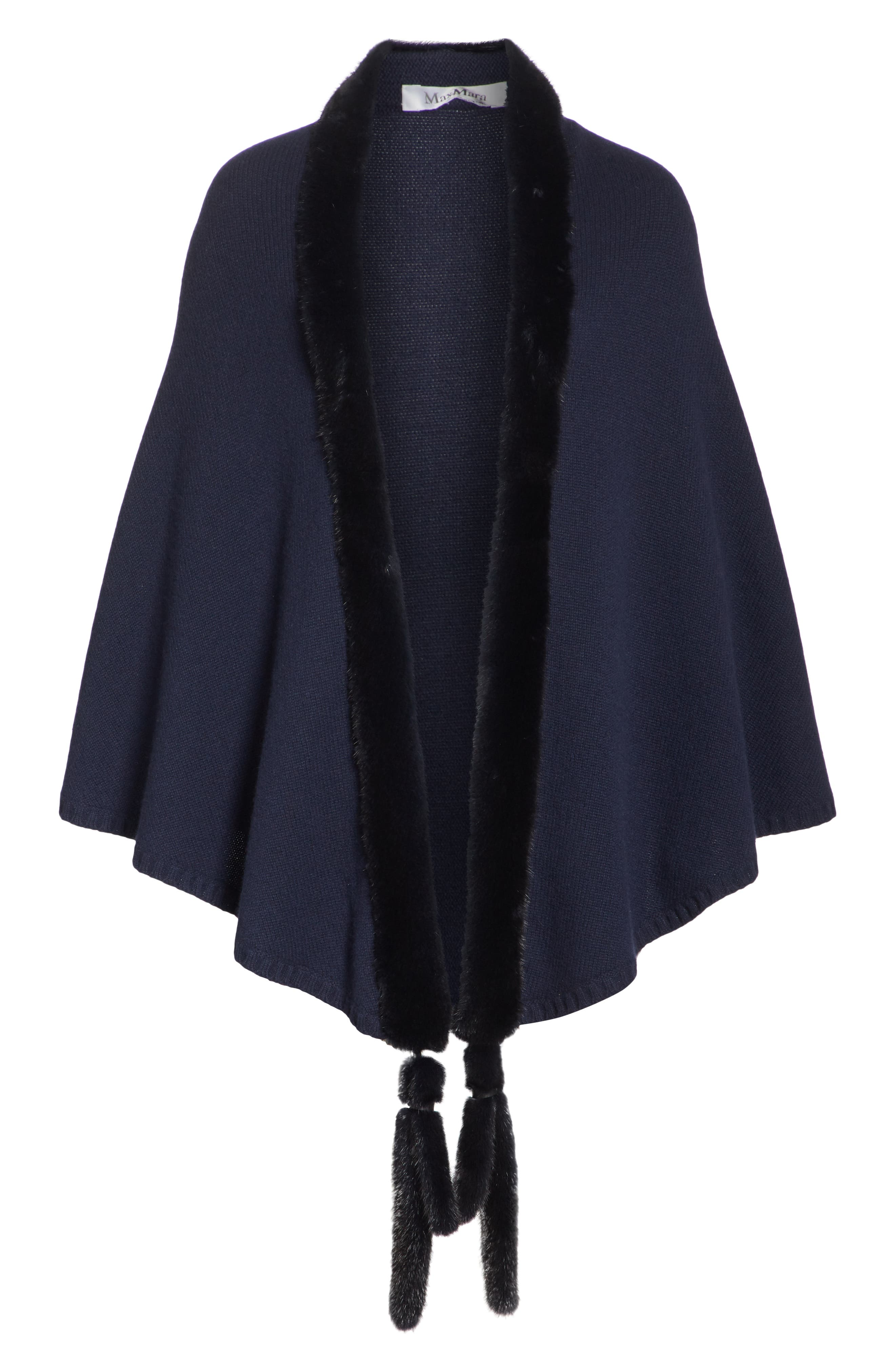 Cashmere & Genuine Mink Fur Wrap,                             Alternate thumbnail 6, color,                             ULTRAMARINE NAVY