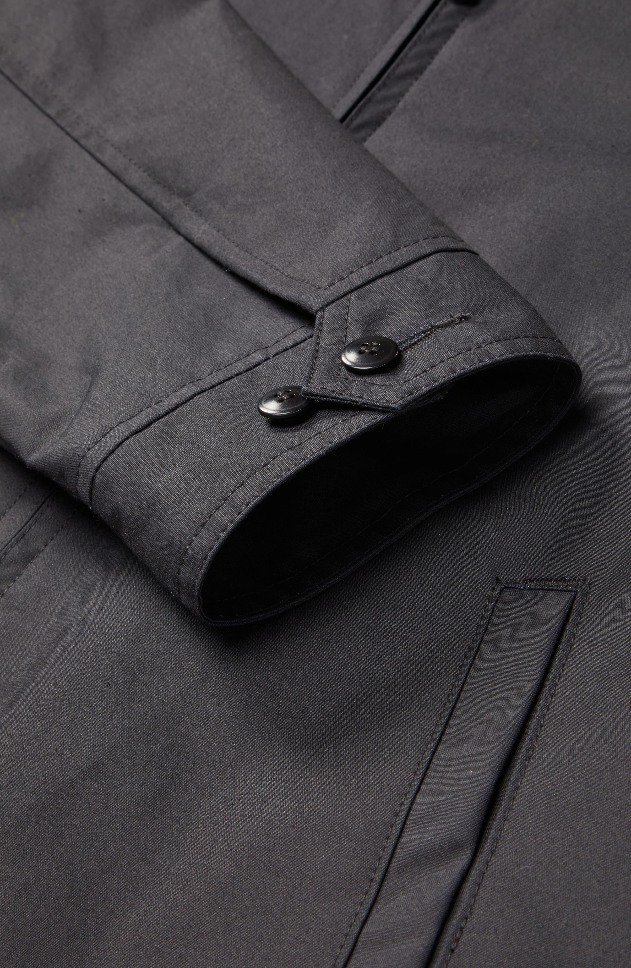 Harrington Waxed Cotton Jacket,                             Alternate thumbnail 5, color,                             BLACK
