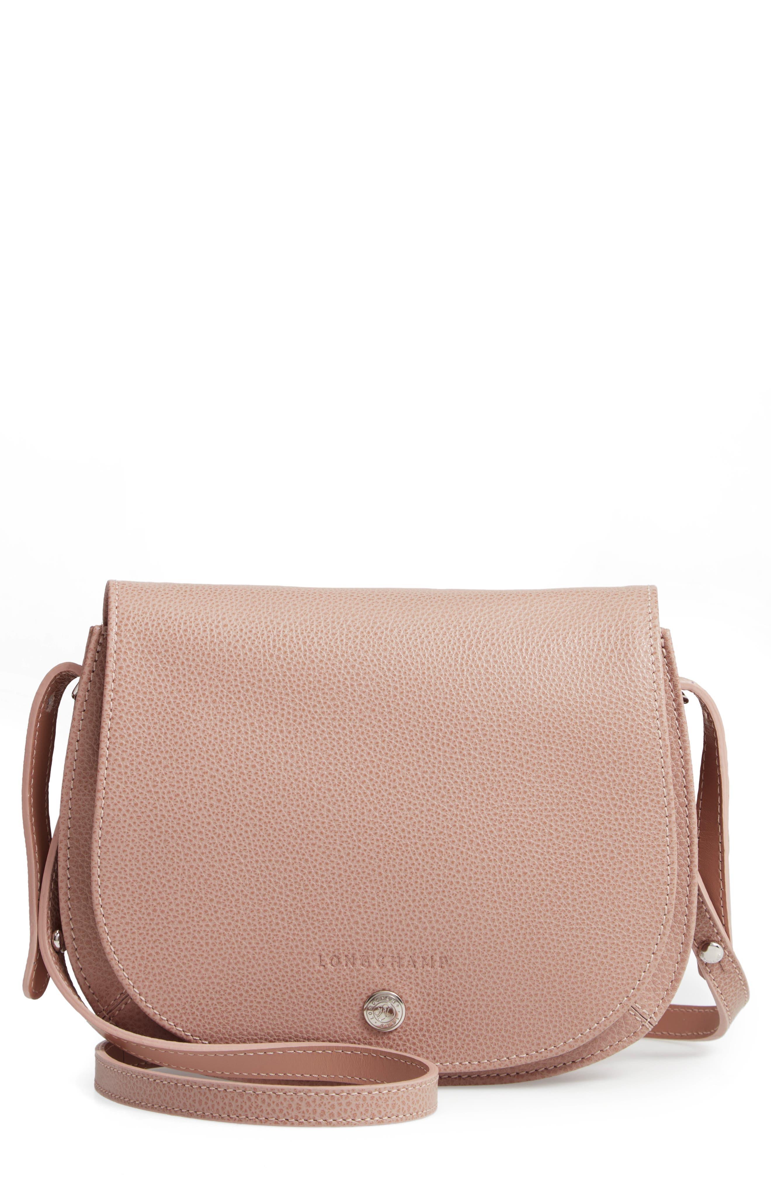 LONGCHAMP Small Le Foulonne Leather Crossbody Bag - Beige in Greige