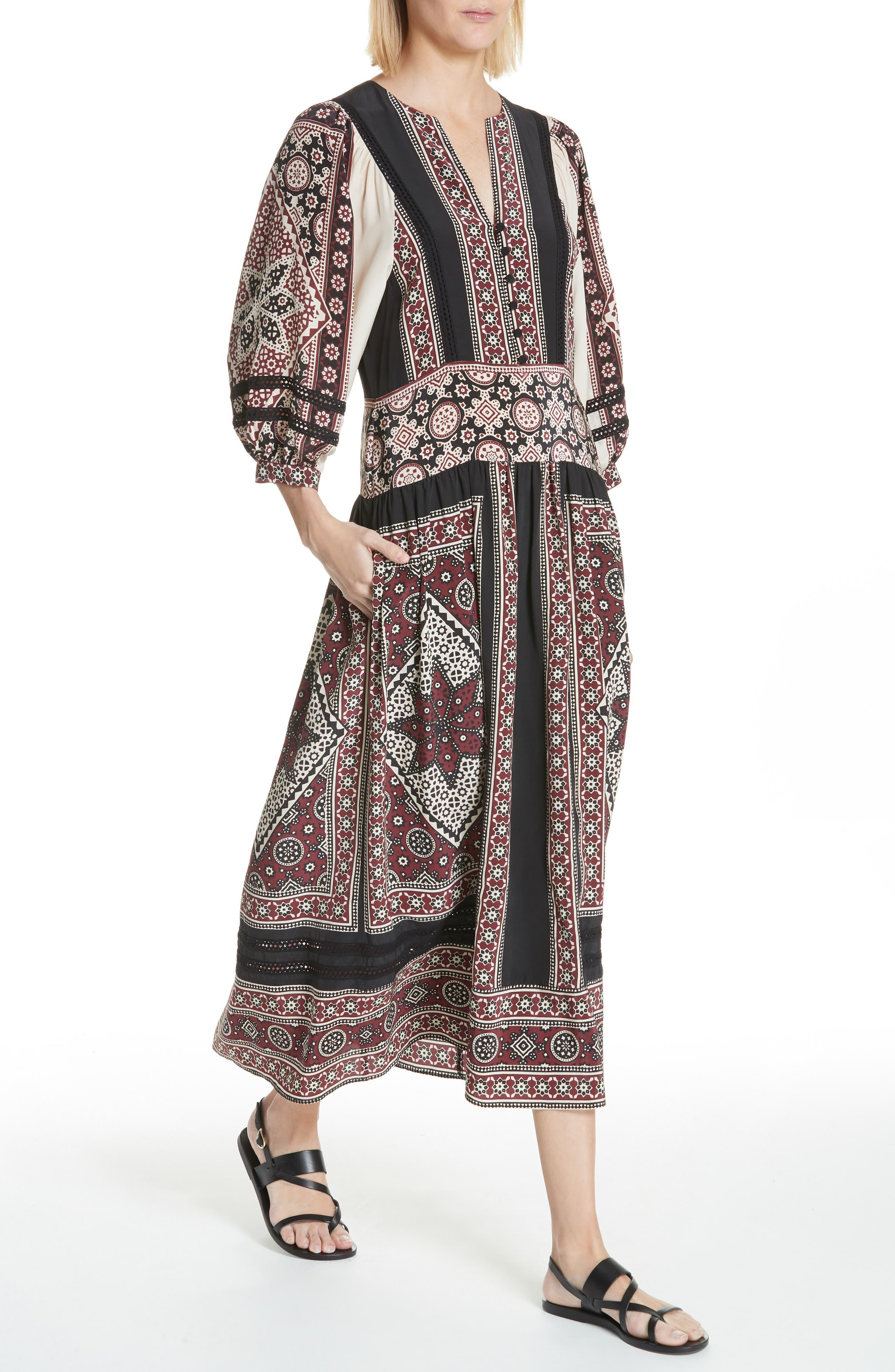 Ezri Print Midi Dress,                             Alternate thumbnail 4, color,                             BRICK MULTI