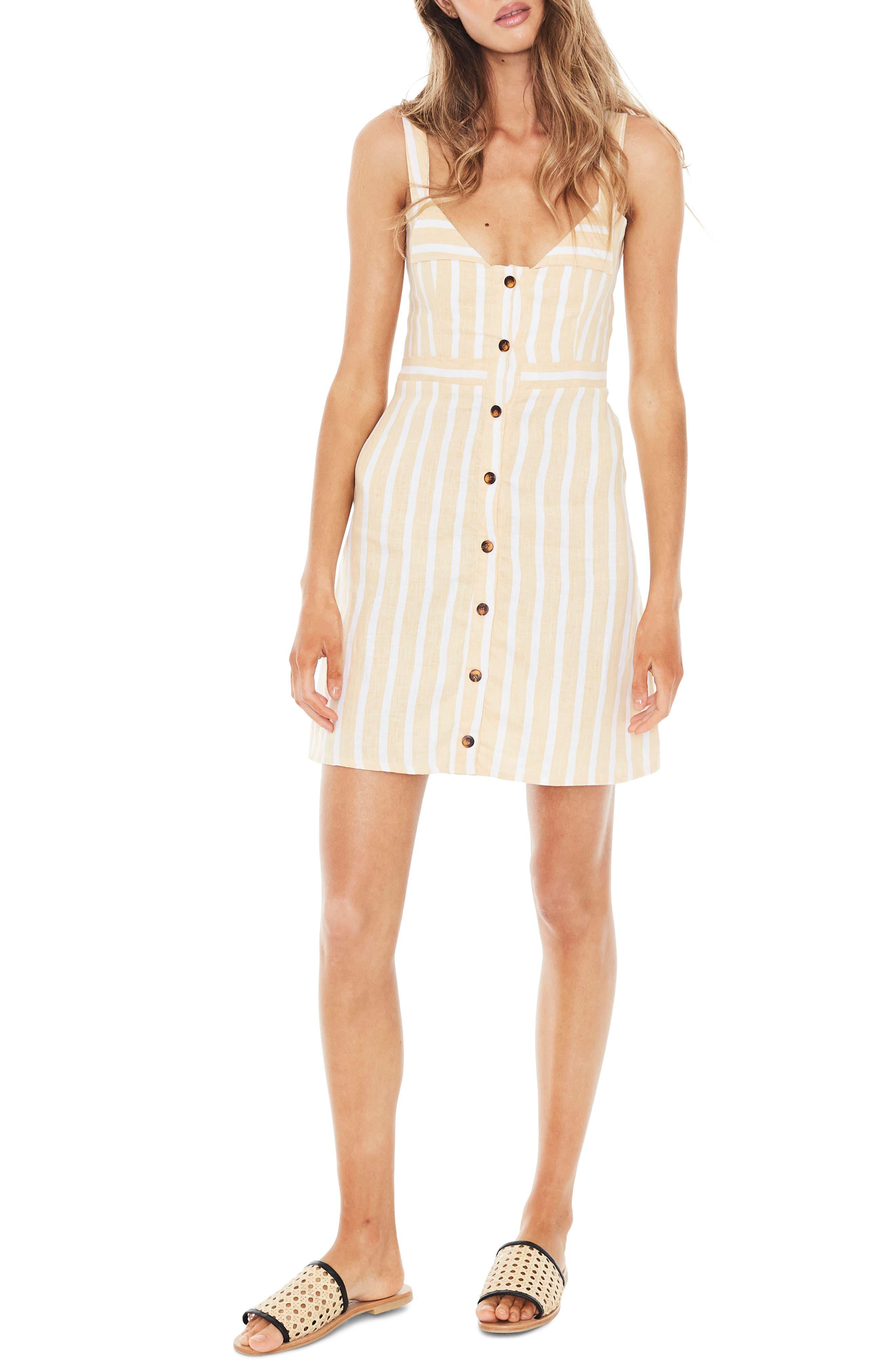 Le Petite Stripe Linen Dress,                             Main thumbnail 1, color,                             MAZUR STRIPE PRINT - LEMON