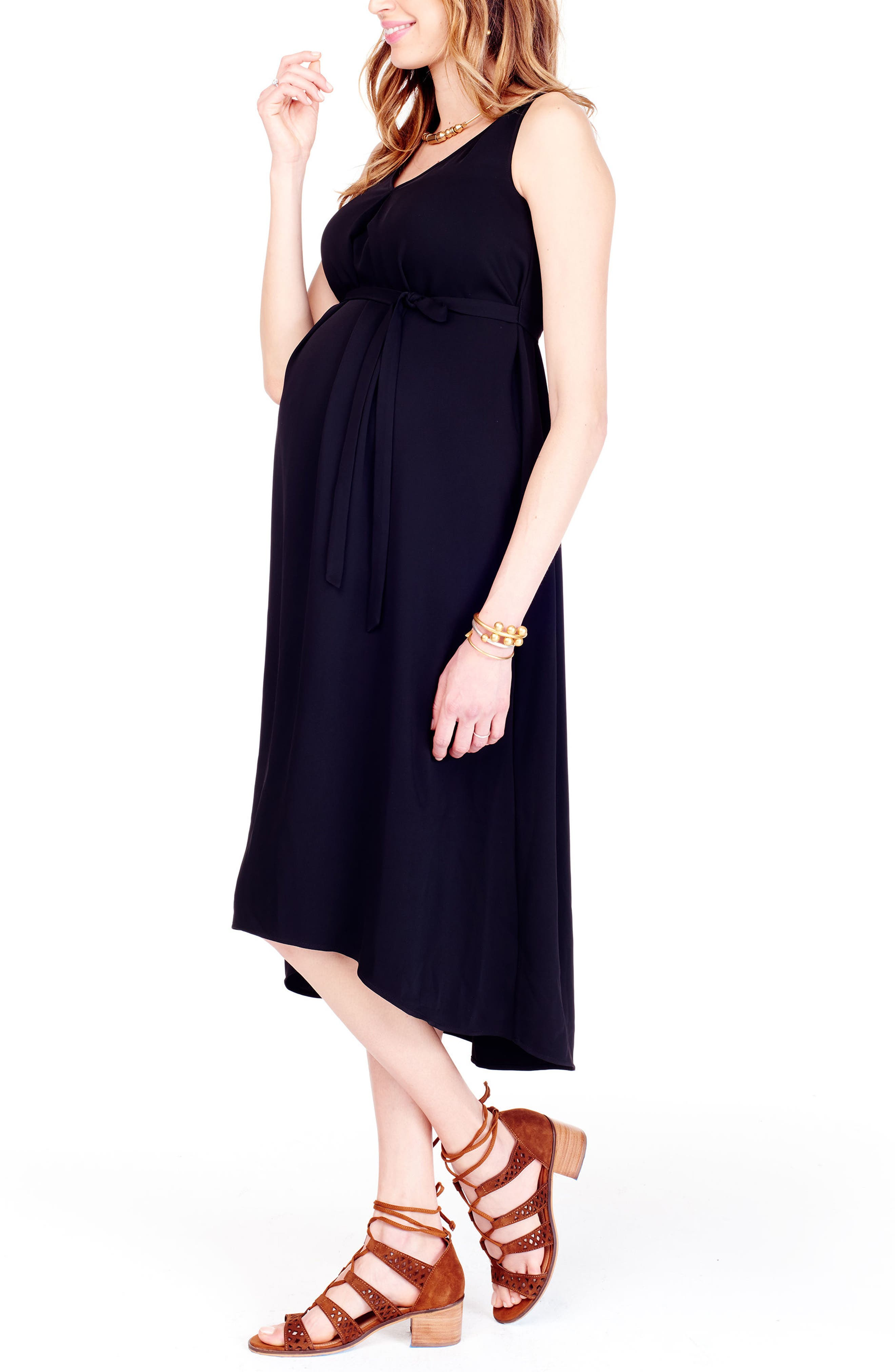 High/Low Maternity Dress,                             Alternate thumbnail 3, color,                             JET BLACK
