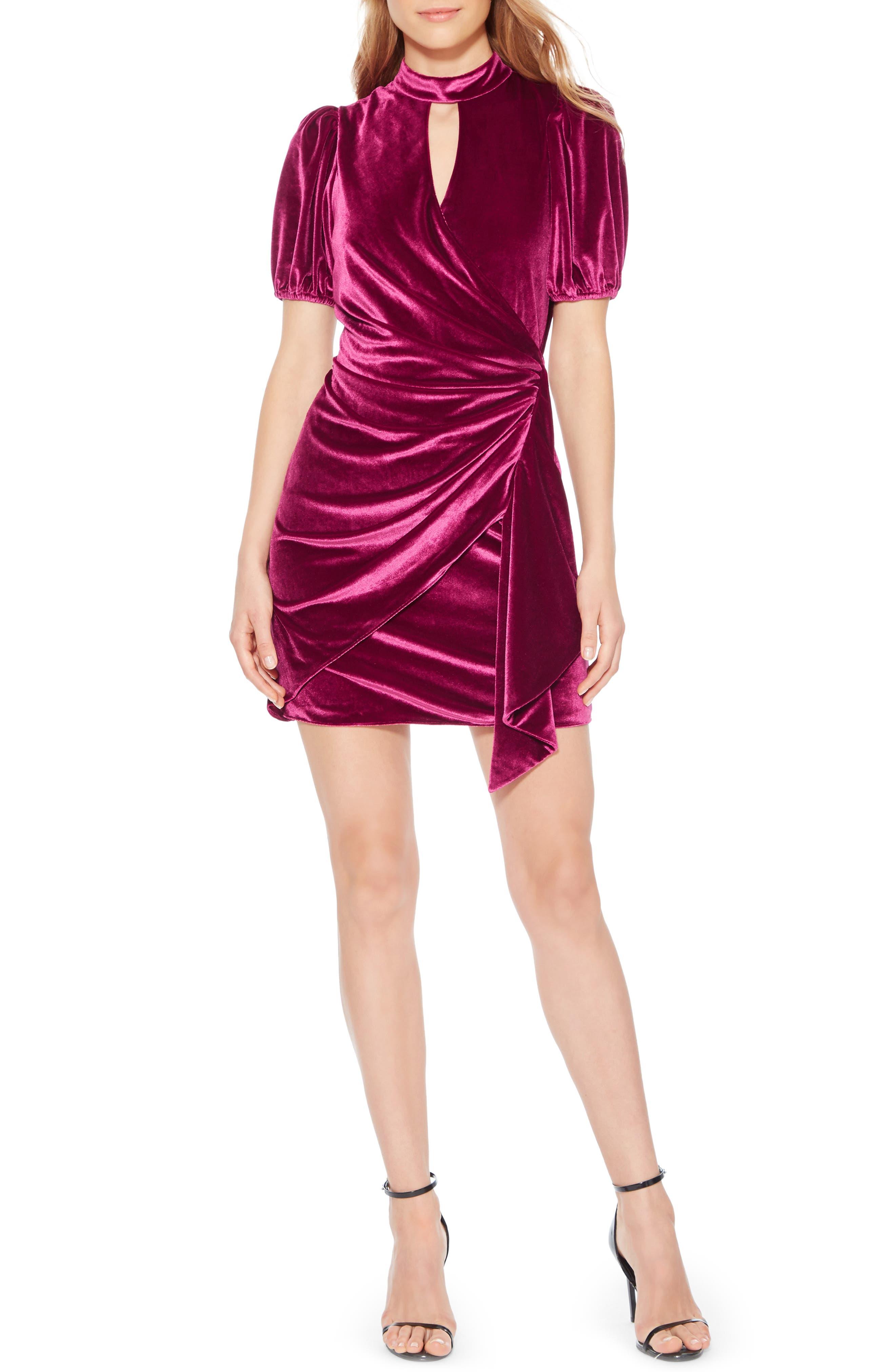 Artie Velvet Minidress,                         Main,                         color, MULBERRY
