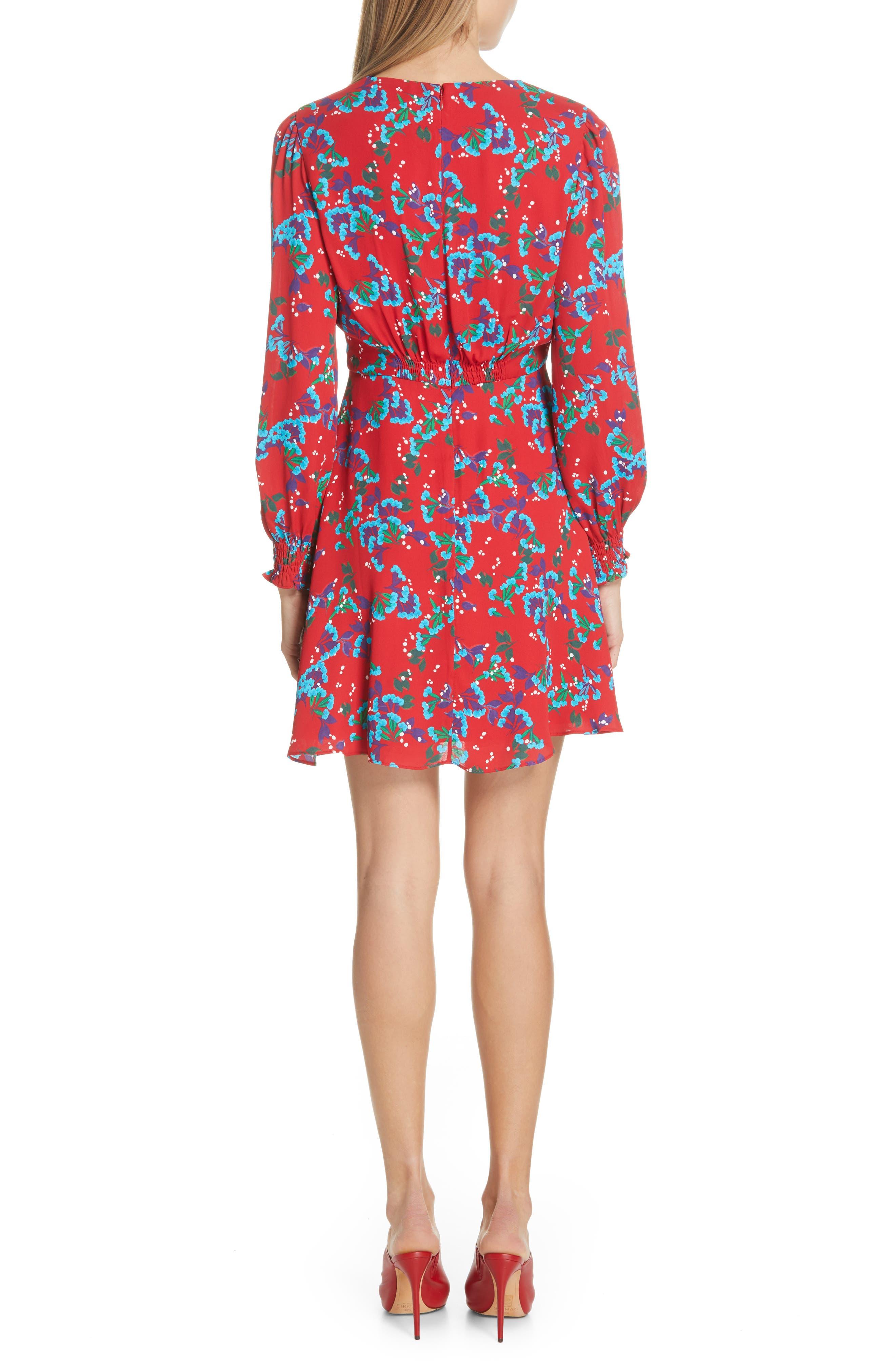 Eve Floral Print Dress,                             Alternate thumbnail 2, color,                             SCARLET SWEETPEAS
