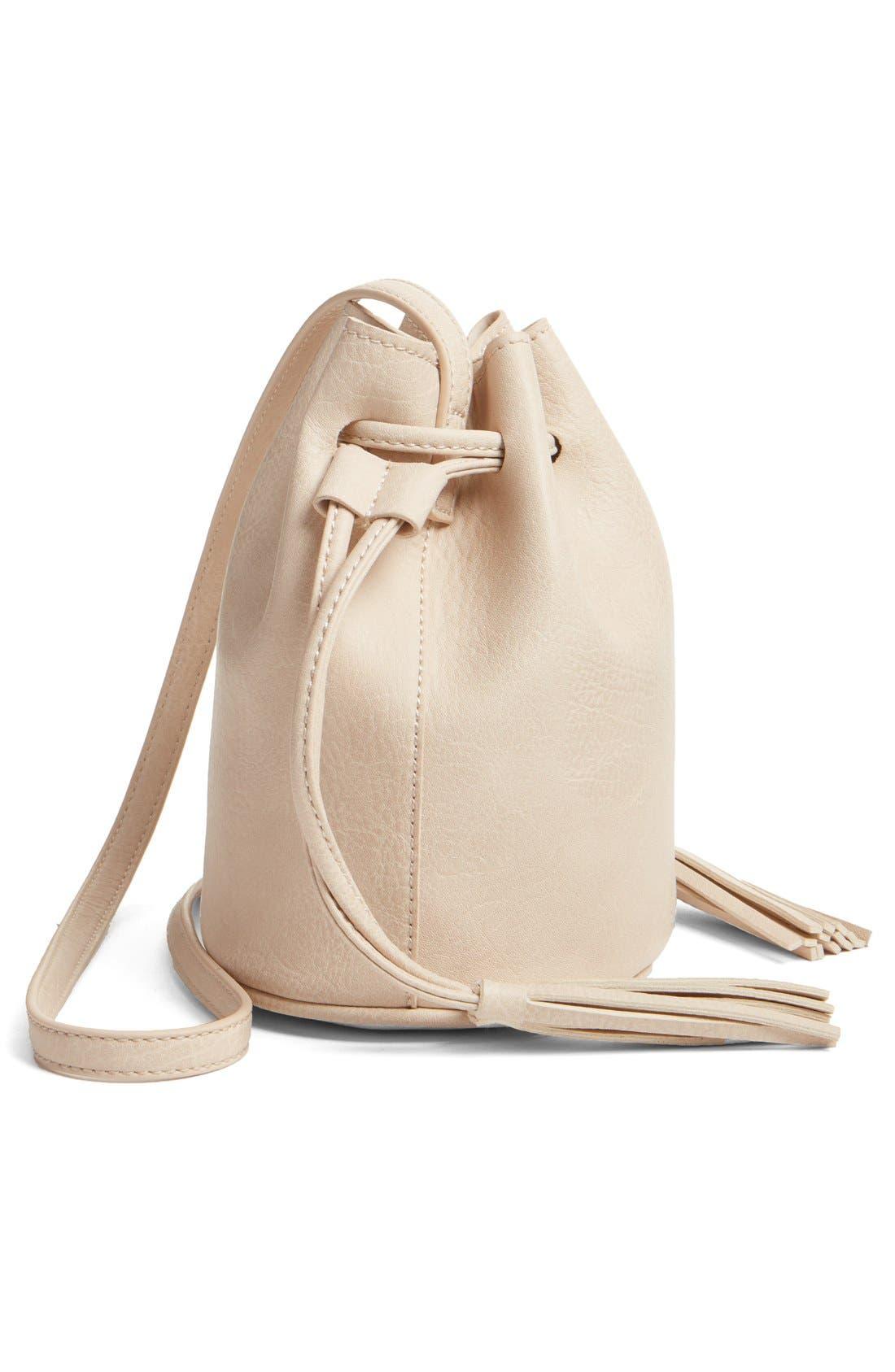 Mini Faux Leather Tassel Bucket Bag,                             Alternate thumbnail 7, color,