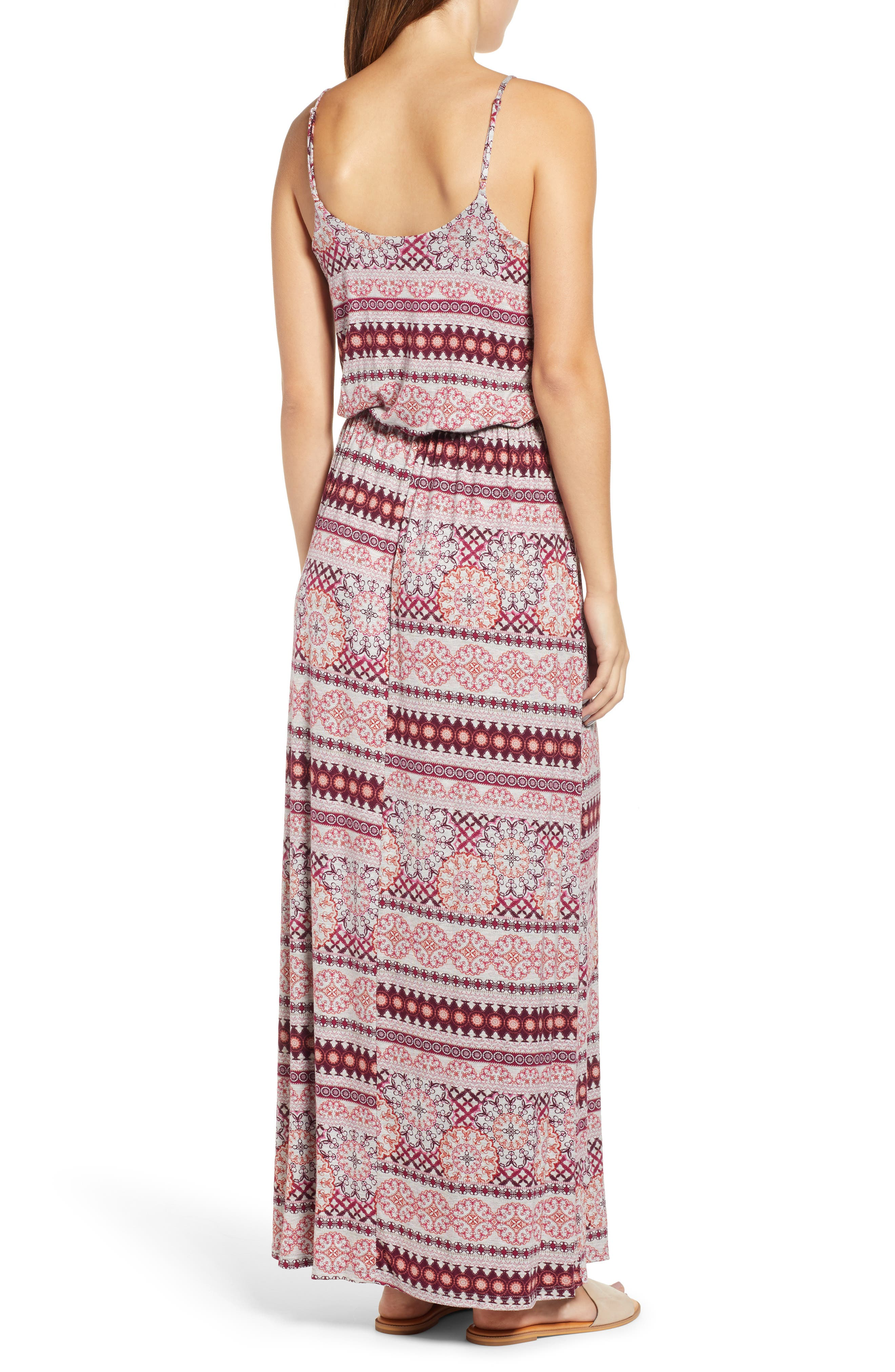 Knit Maxi Dress,                             Alternate thumbnail 2, color,                             HEATHERGREY/ CORAL