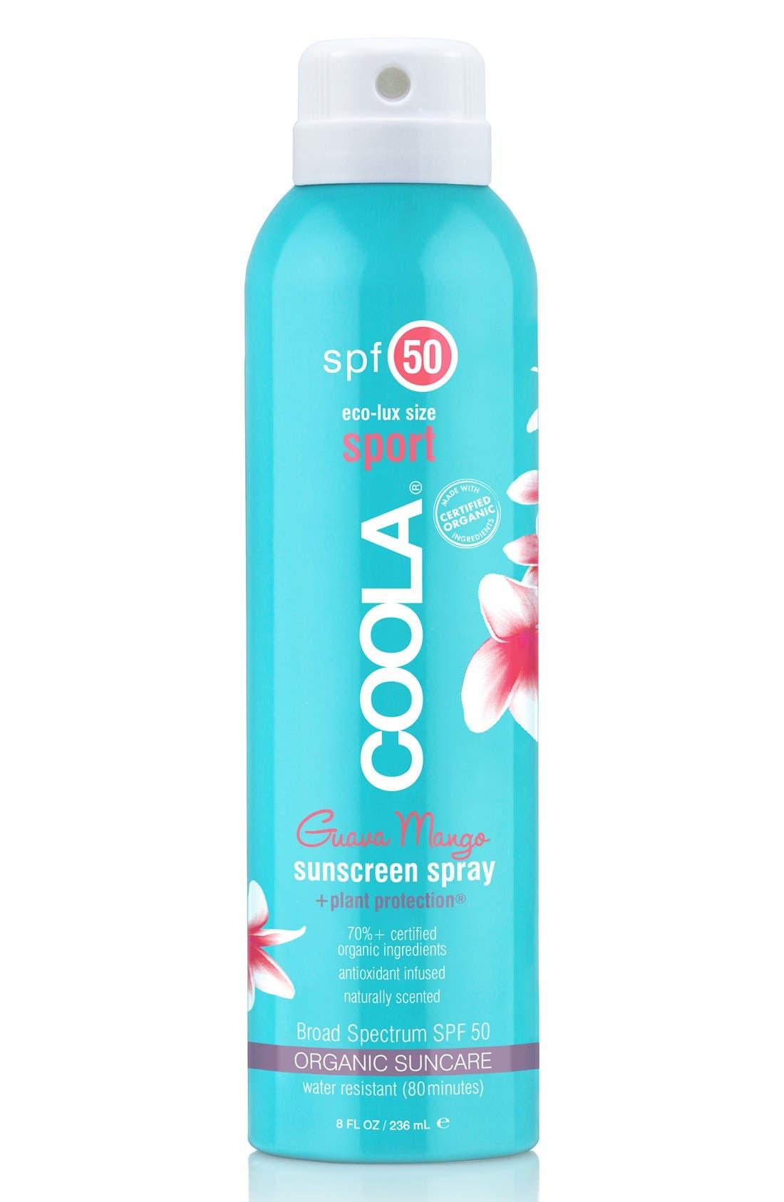 COOLA<sup>®</sup> Suncare Guava Mango Eco-Lux Sport Sunscreen Spray SPF 50,                             Main thumbnail 1, color,                             NO COLOR