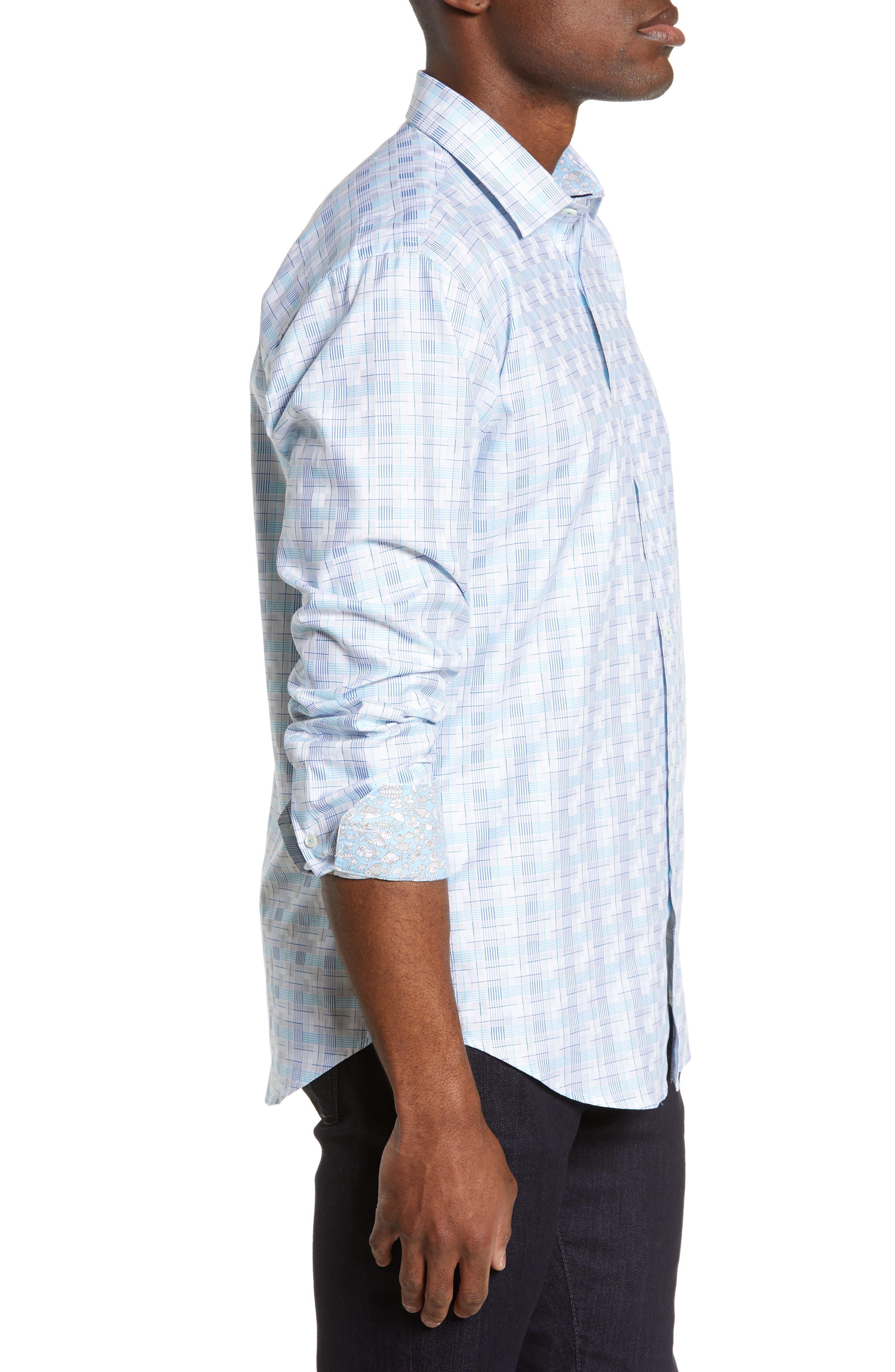 BUGATCHI,                             Shaped Fit Sport Shirt,                             Alternate thumbnail 4, color,                             SNOW