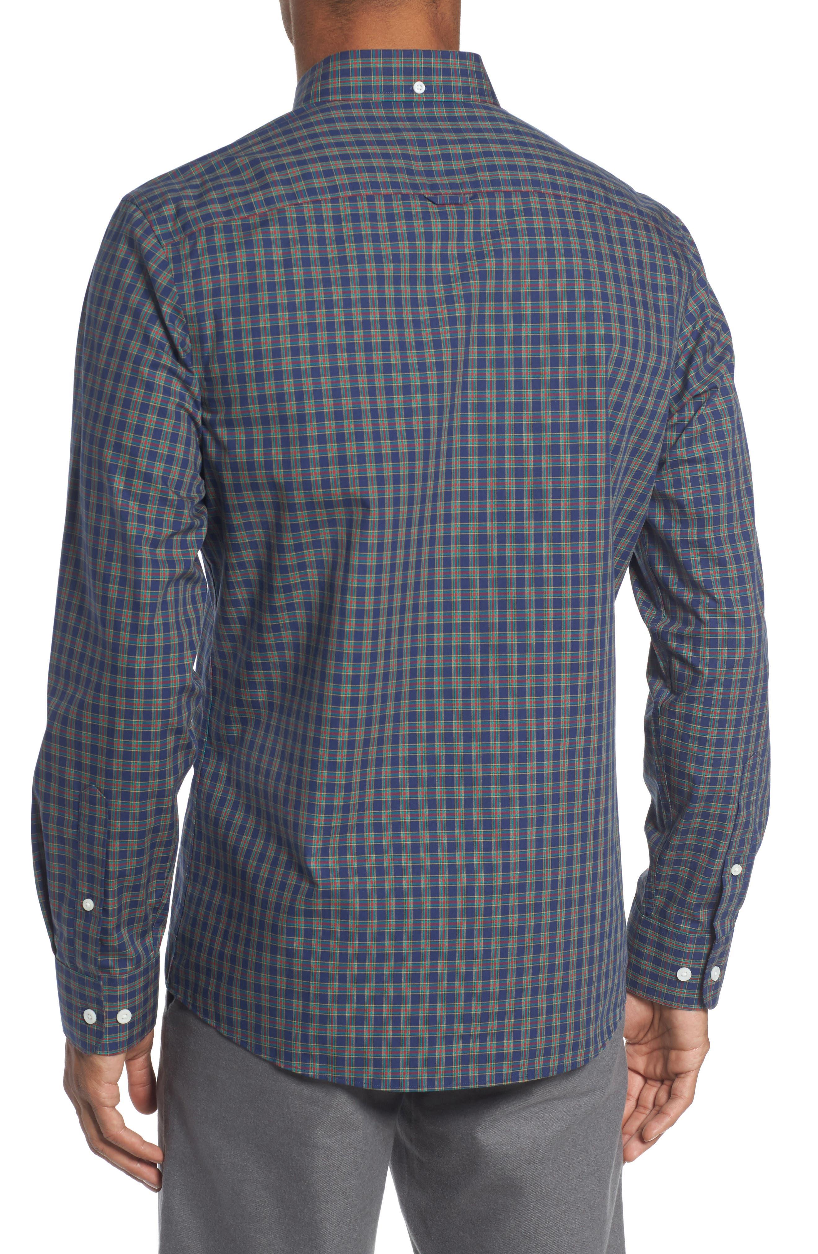 Trim Fit Non-Iron Plaid Sport Shirt,                             Alternate thumbnail 2, color,                             410