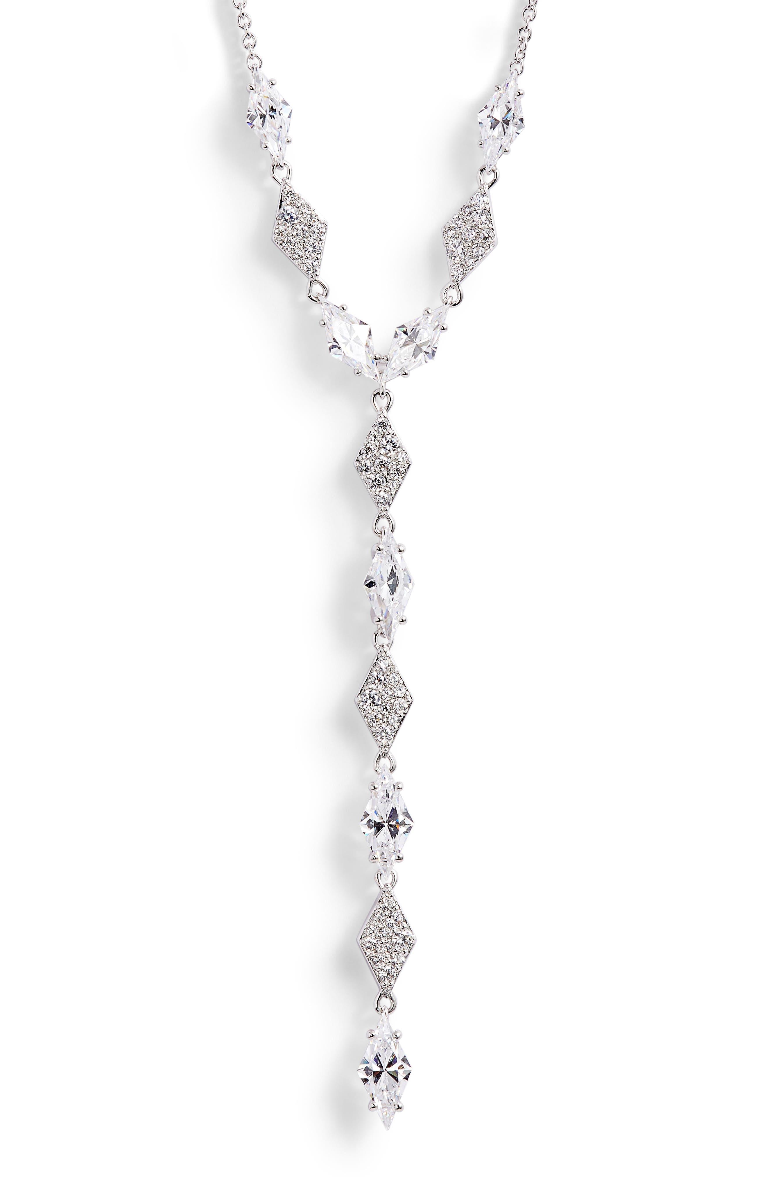 NADRI Luminous Cubic Zirconia Y-Necklace in White