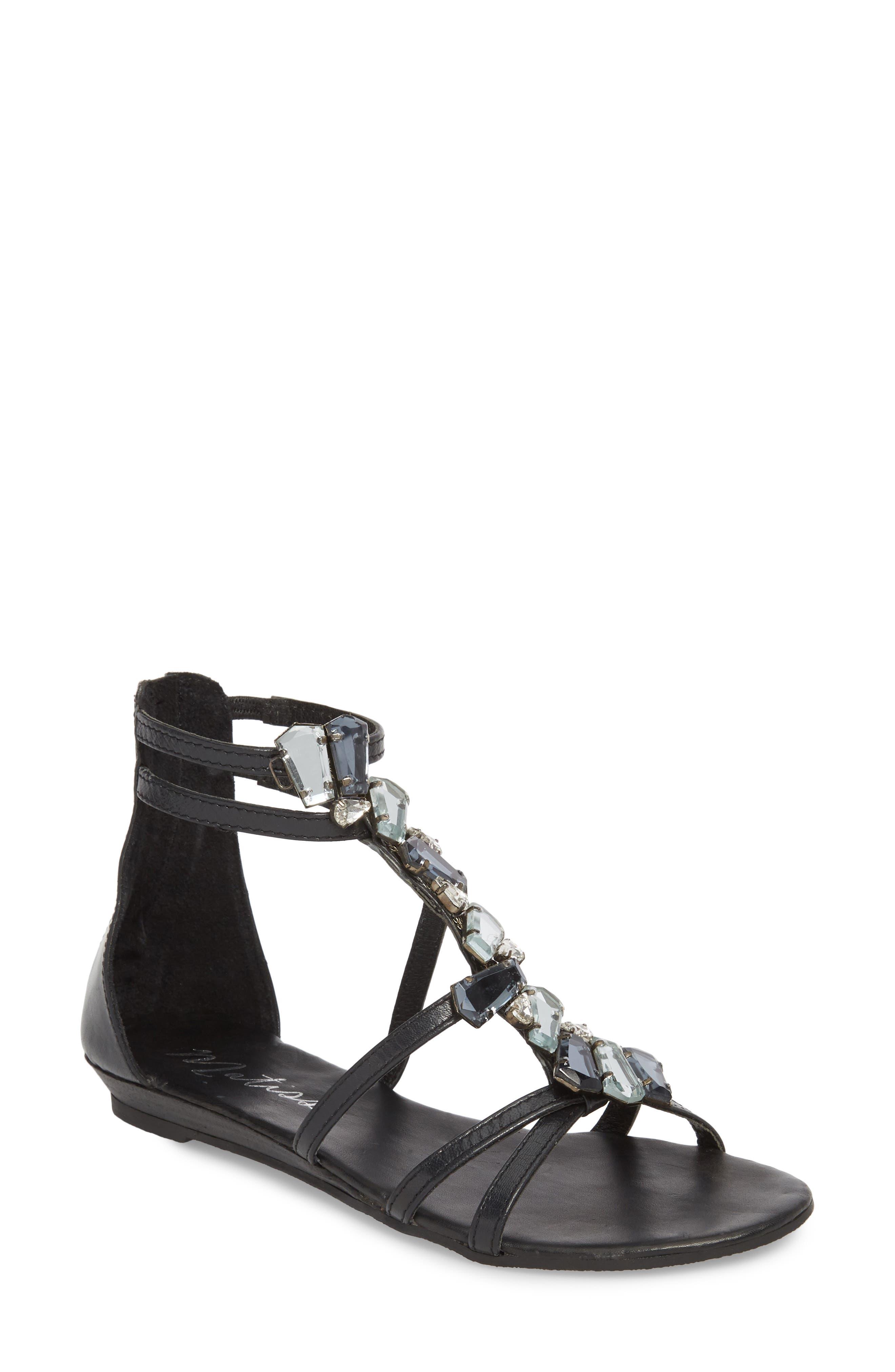 Didi Crystal Embellished Sandal,                         Main,                         color, BLACK LEATHER