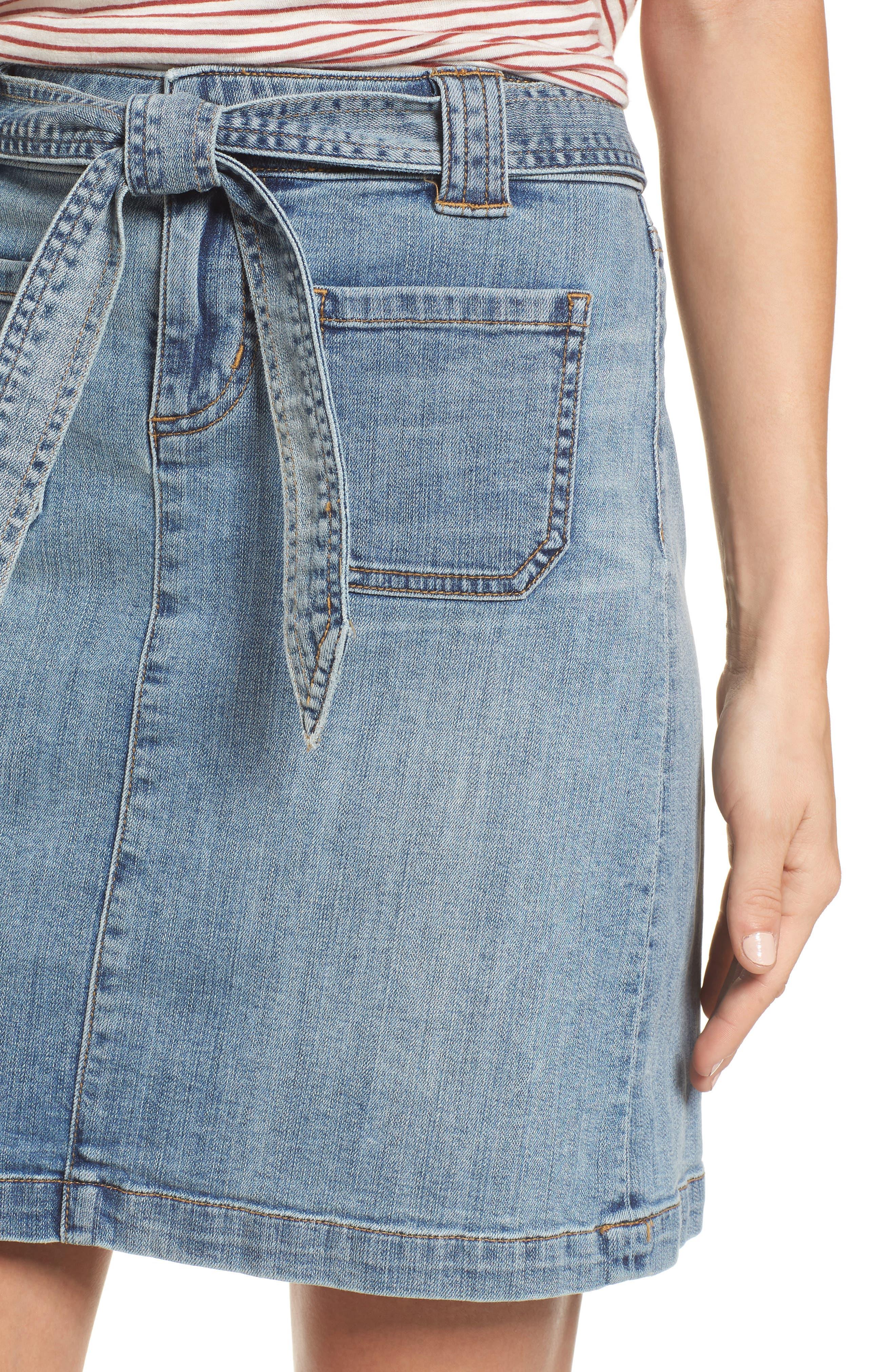 Belted Stretch Denim Skirt,                             Alternate thumbnail 4, color,                             420