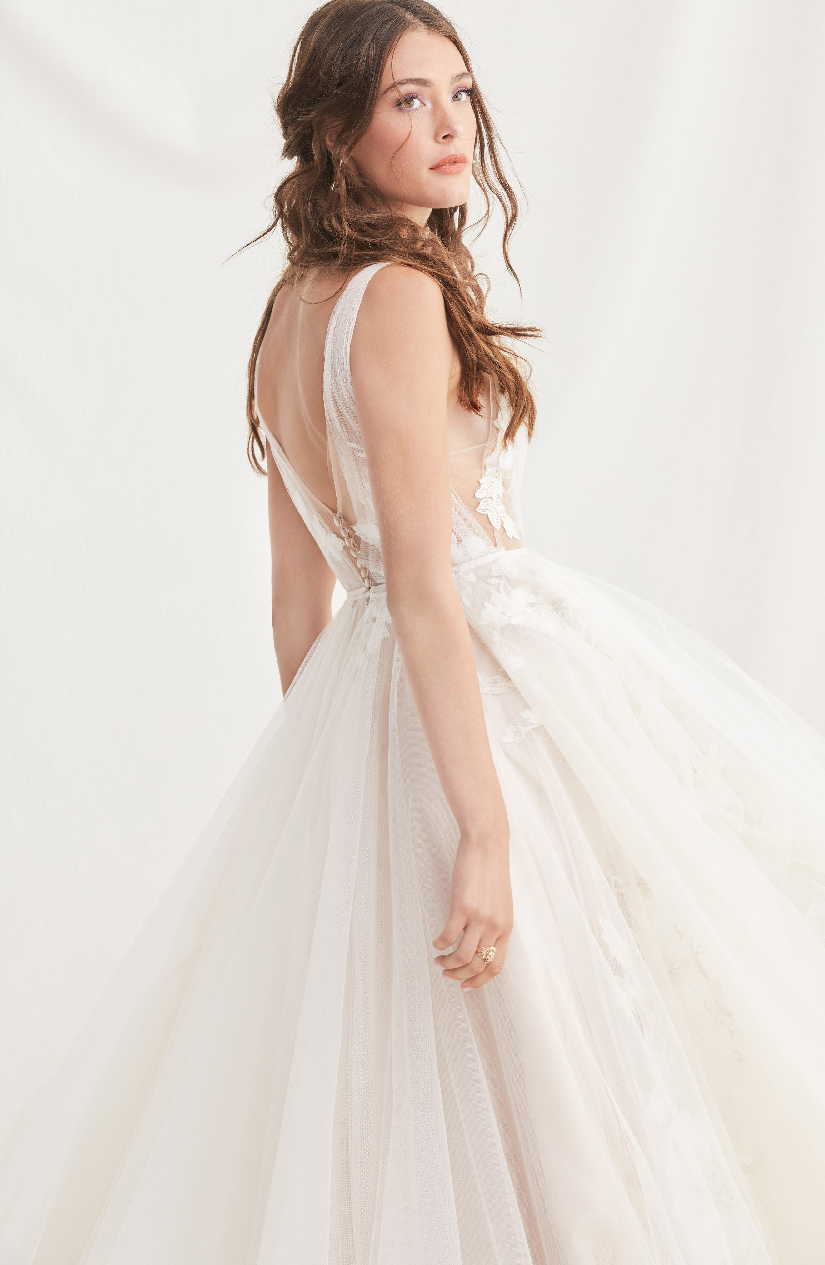 Lanie Floral Appliqué & Tulle A-Line Wedding Dress,                             Alternate thumbnail 3, color,                             900