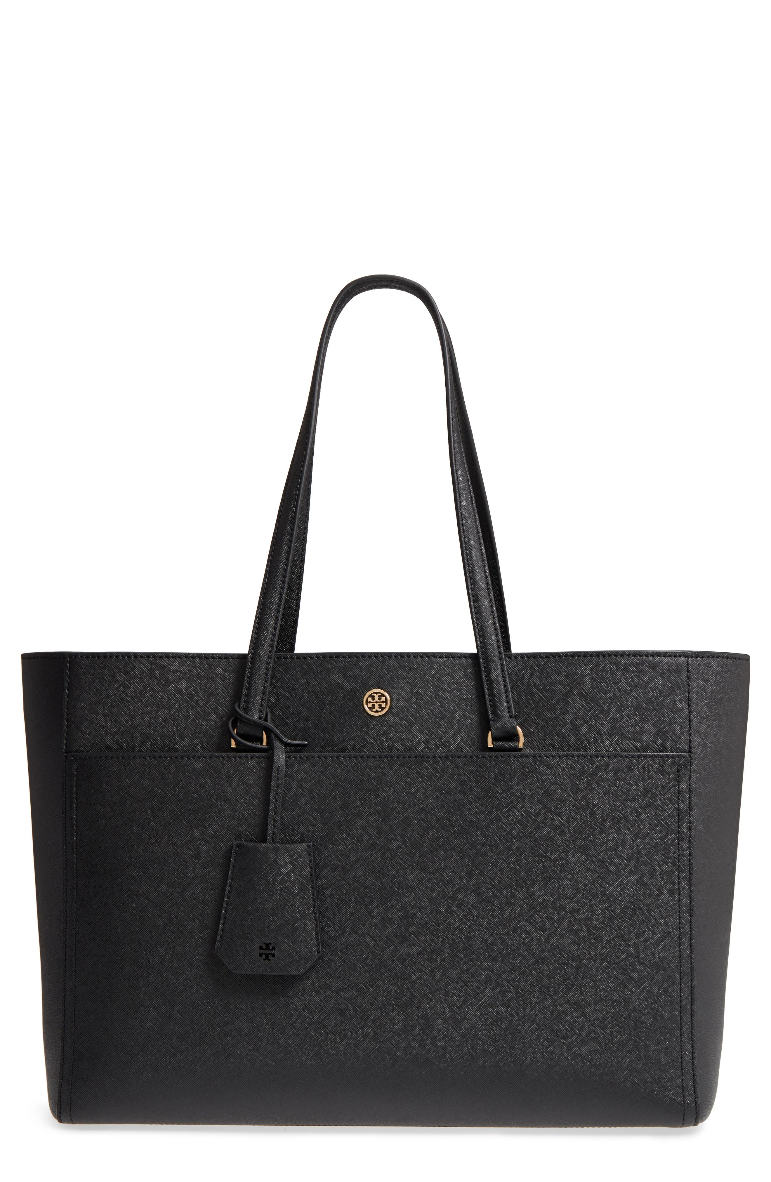 TORY BURCH,                             Robinson Leather Tote,                             Main thumbnail 1, color,                             001