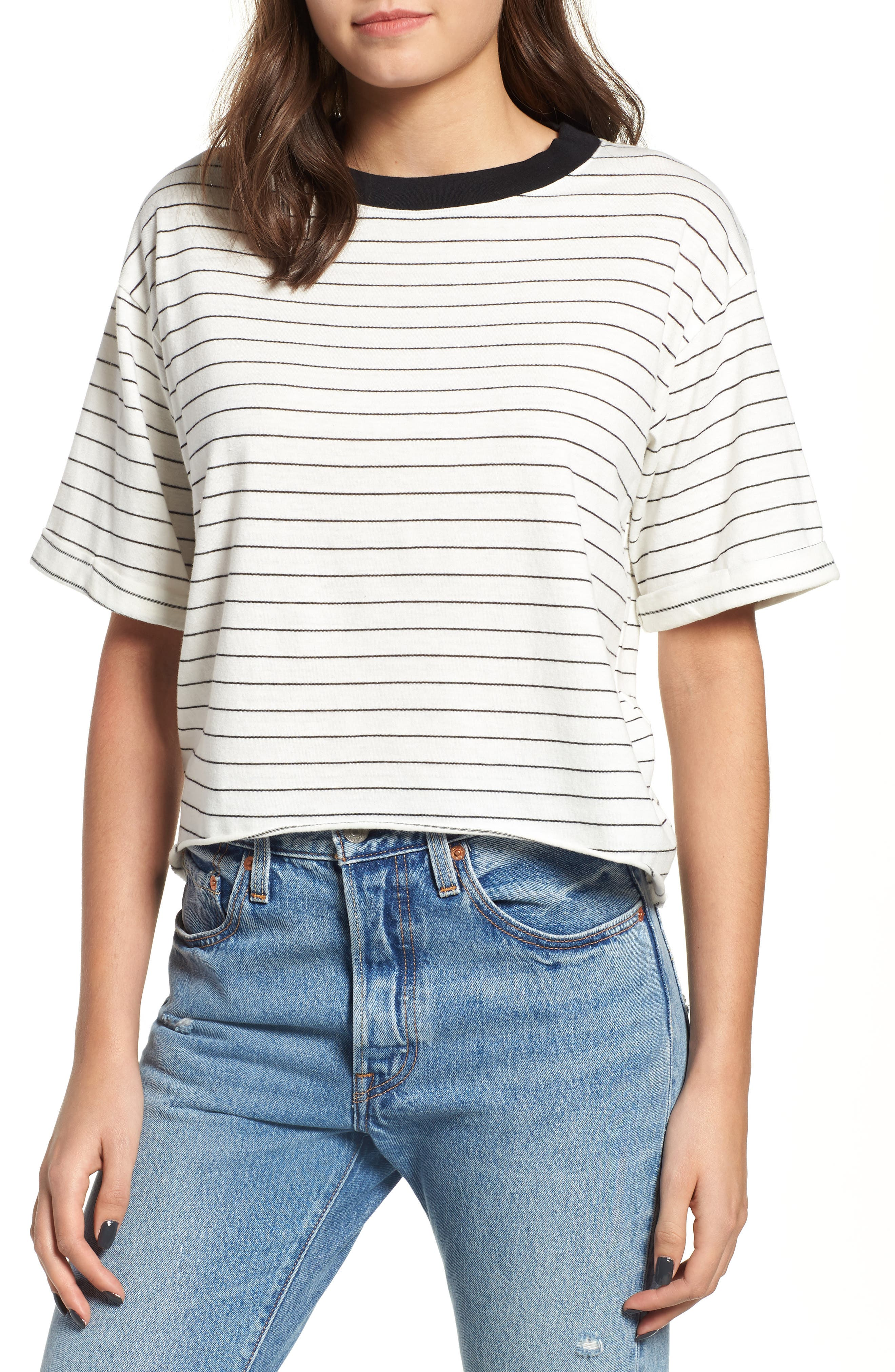 Freddy Crop Ringer Tee,                             Main thumbnail 1, color,                             IVORY/ BLACK