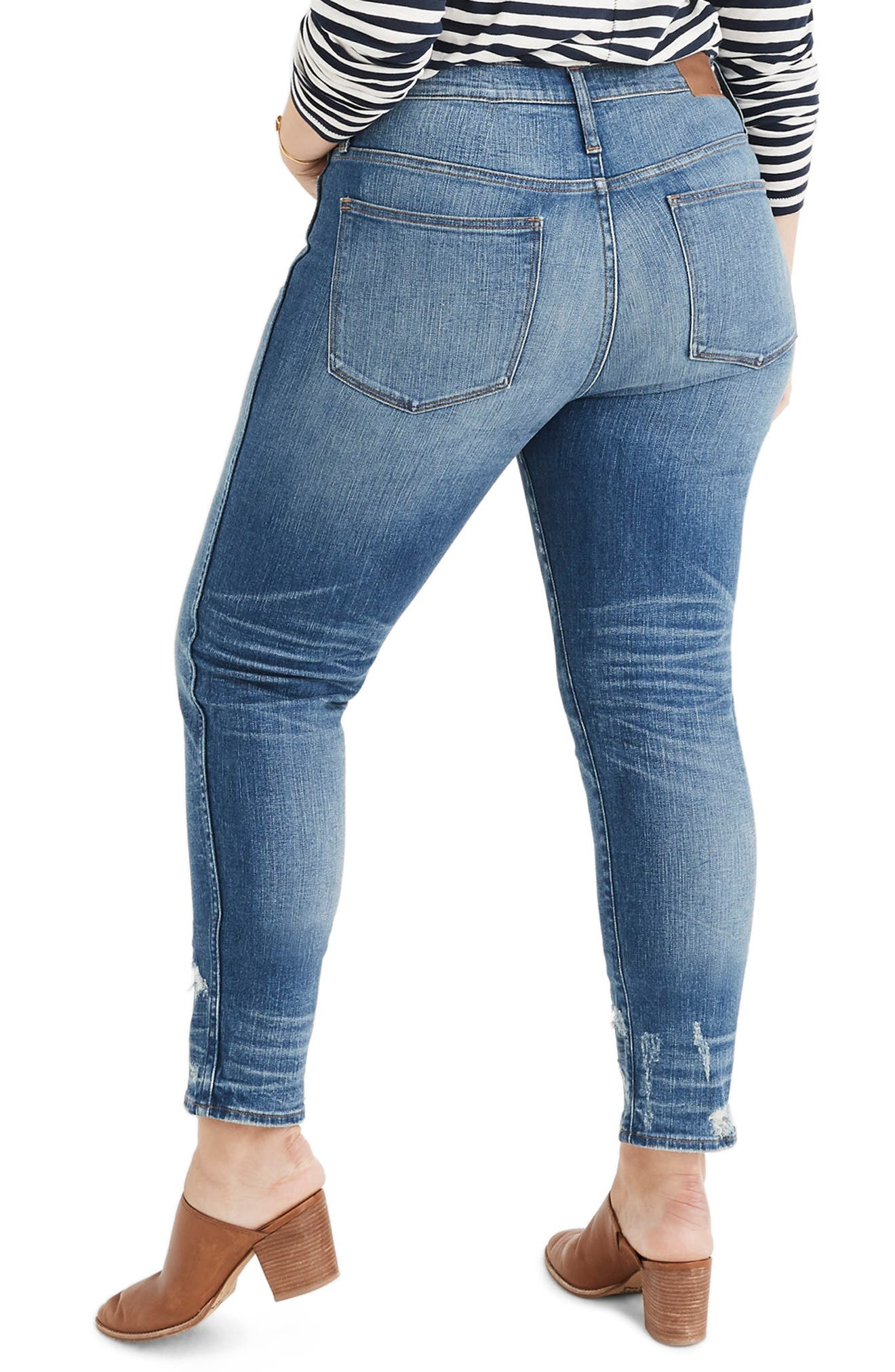 MADEWELL,                             Distressed Button Front High Waist Slim Straight Jeans,                             Alternate thumbnail 8, color,                             CAROLINE