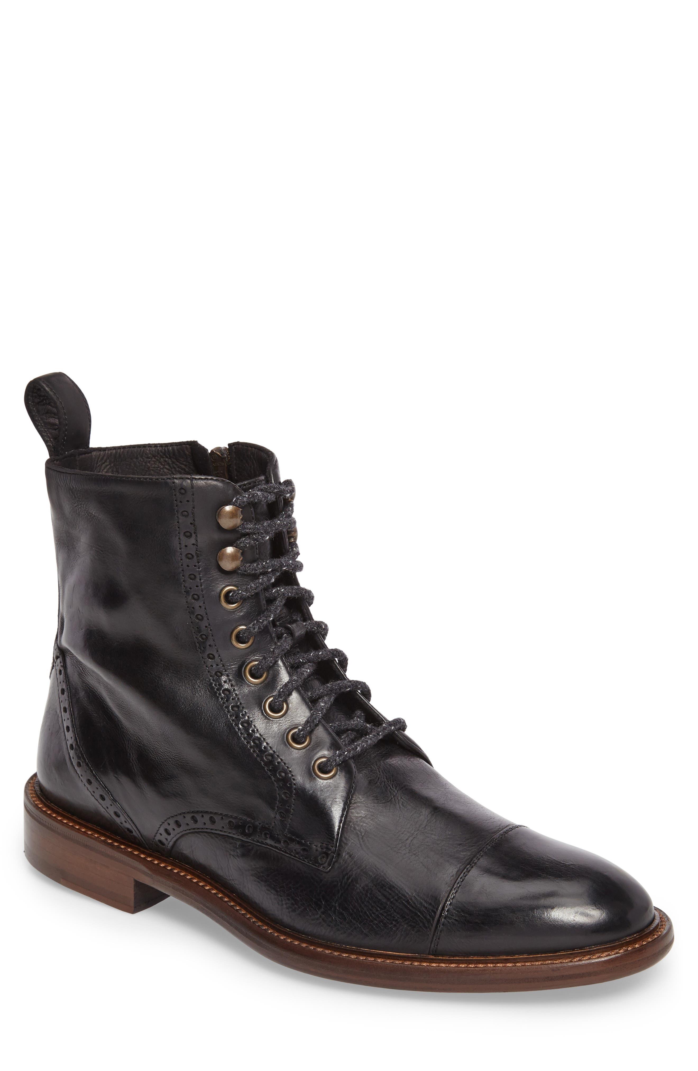 Bryson Cap Toe Boot,                         Main,                         color, 001
