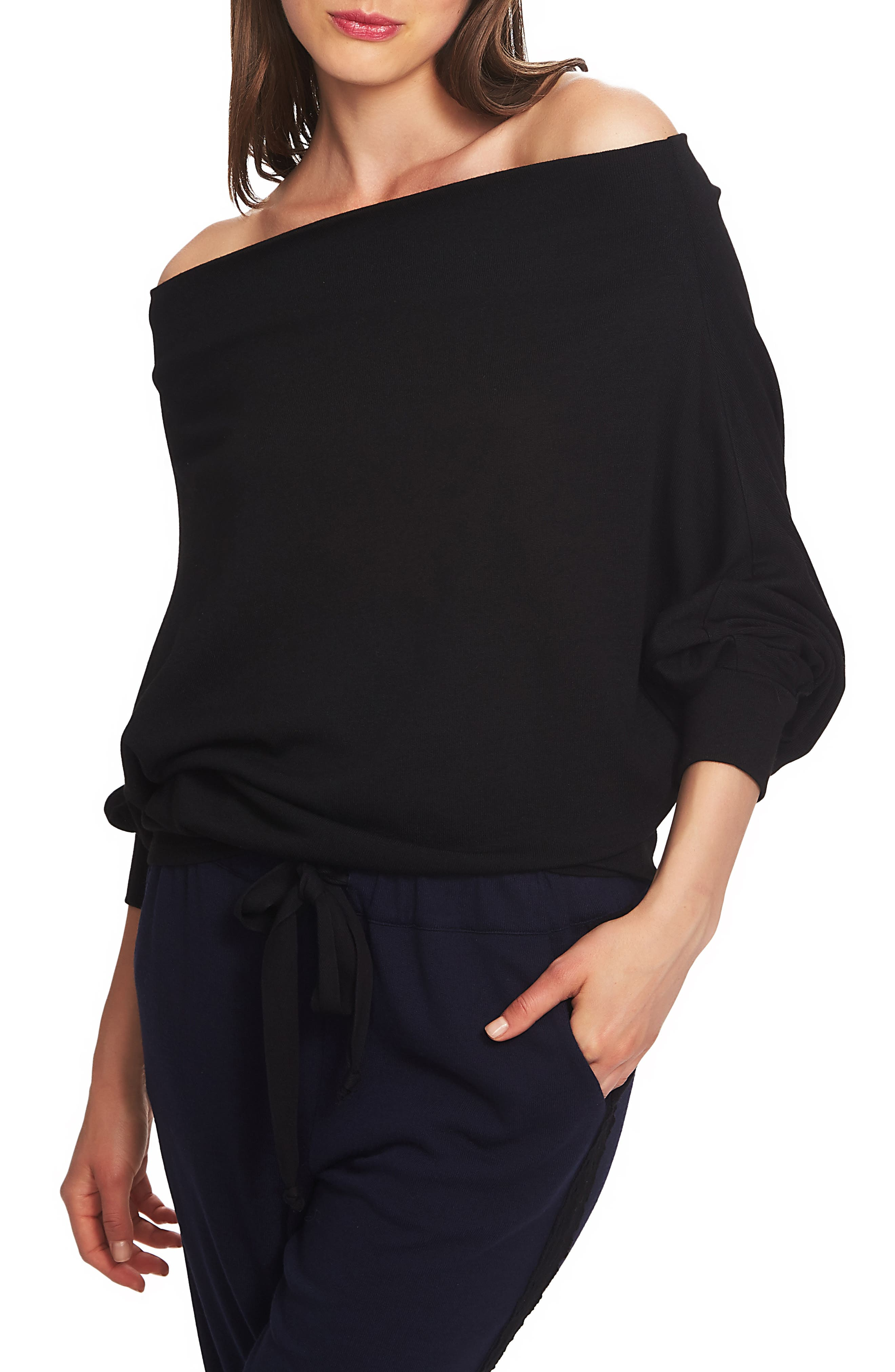 Off the Shoulder Sweater,                             Alternate thumbnail 3, color,                             RICH BLACK