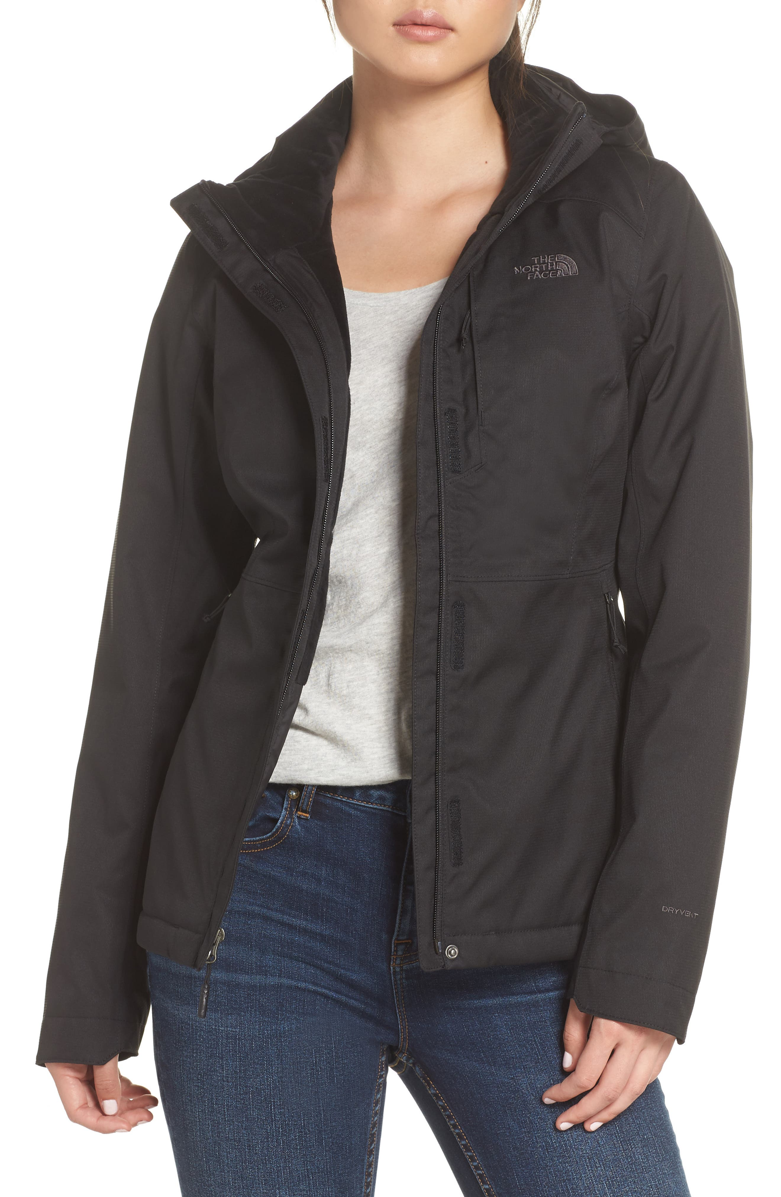 Inlux 2.0 Standard Fit Hooded DryVent Jacket,                             Main thumbnail 1, color,                             TNF BLACK